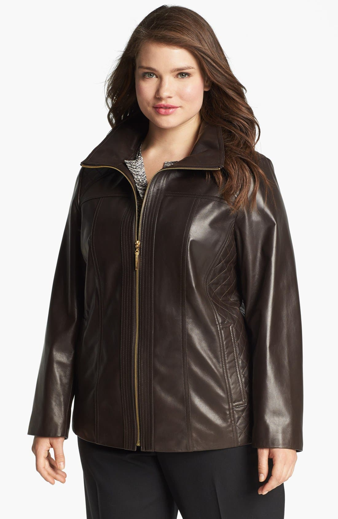 Main Image - Ellen Tracy Quilted Trim Leather Jacket (Plus Size)