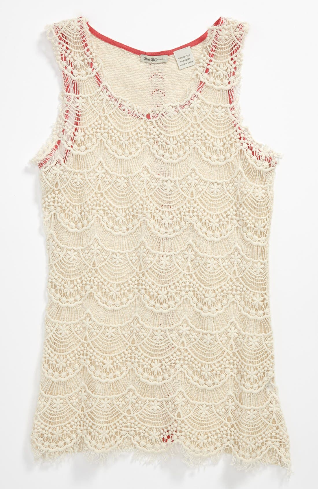 Alternate Image 1 Selected - Miss Me Crochet Tank (Big Girls)