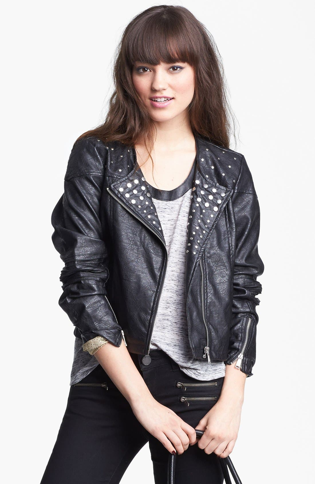 Main Image - Jou Jou Studded Faux Leather Crop Moto Jacket (Juniors)