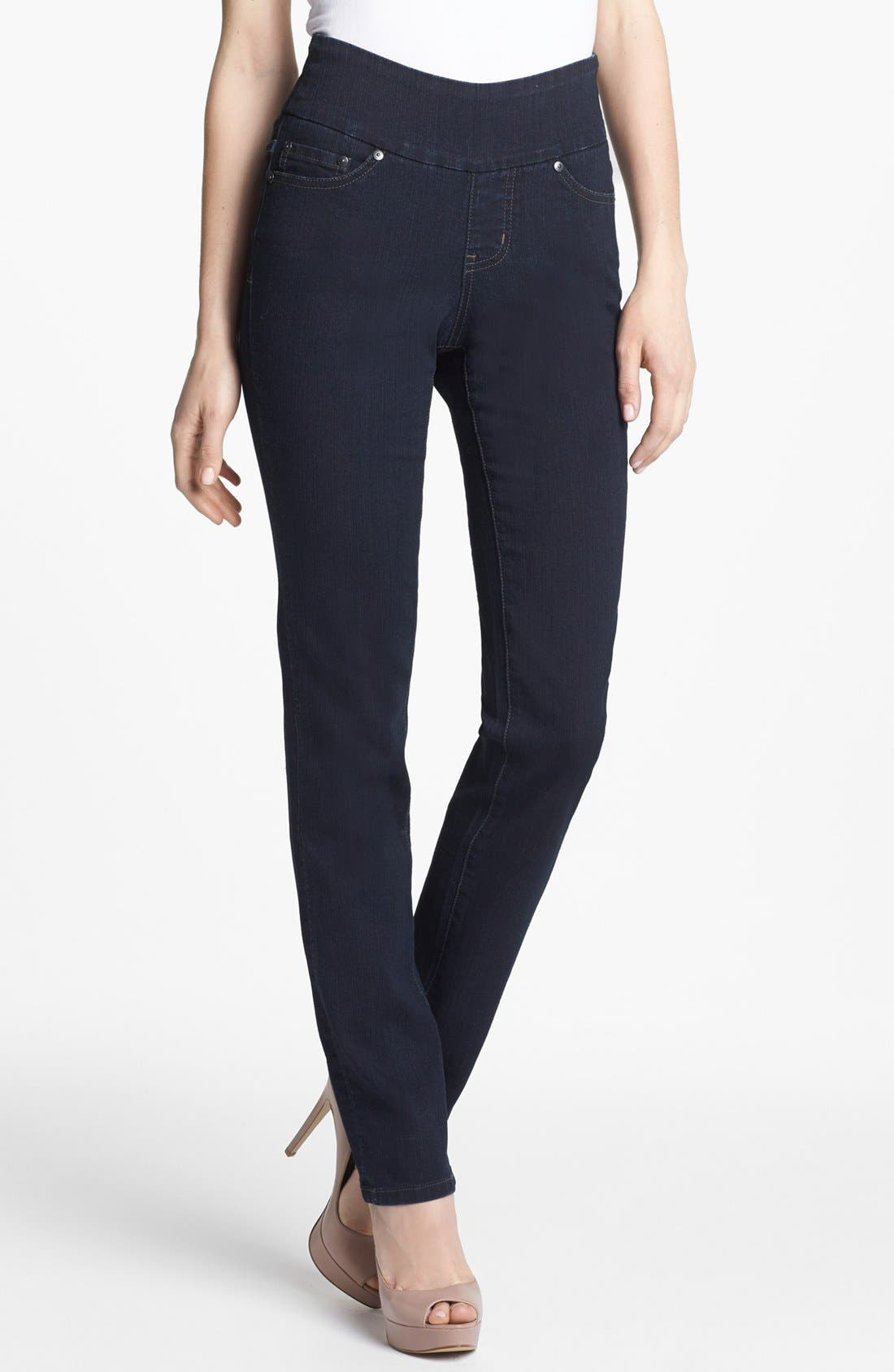 Alternate Image 1 Selected - Jag Jeans 'Peri' Pull-On Straight Leg Jeans (Petite) (After Midnight)