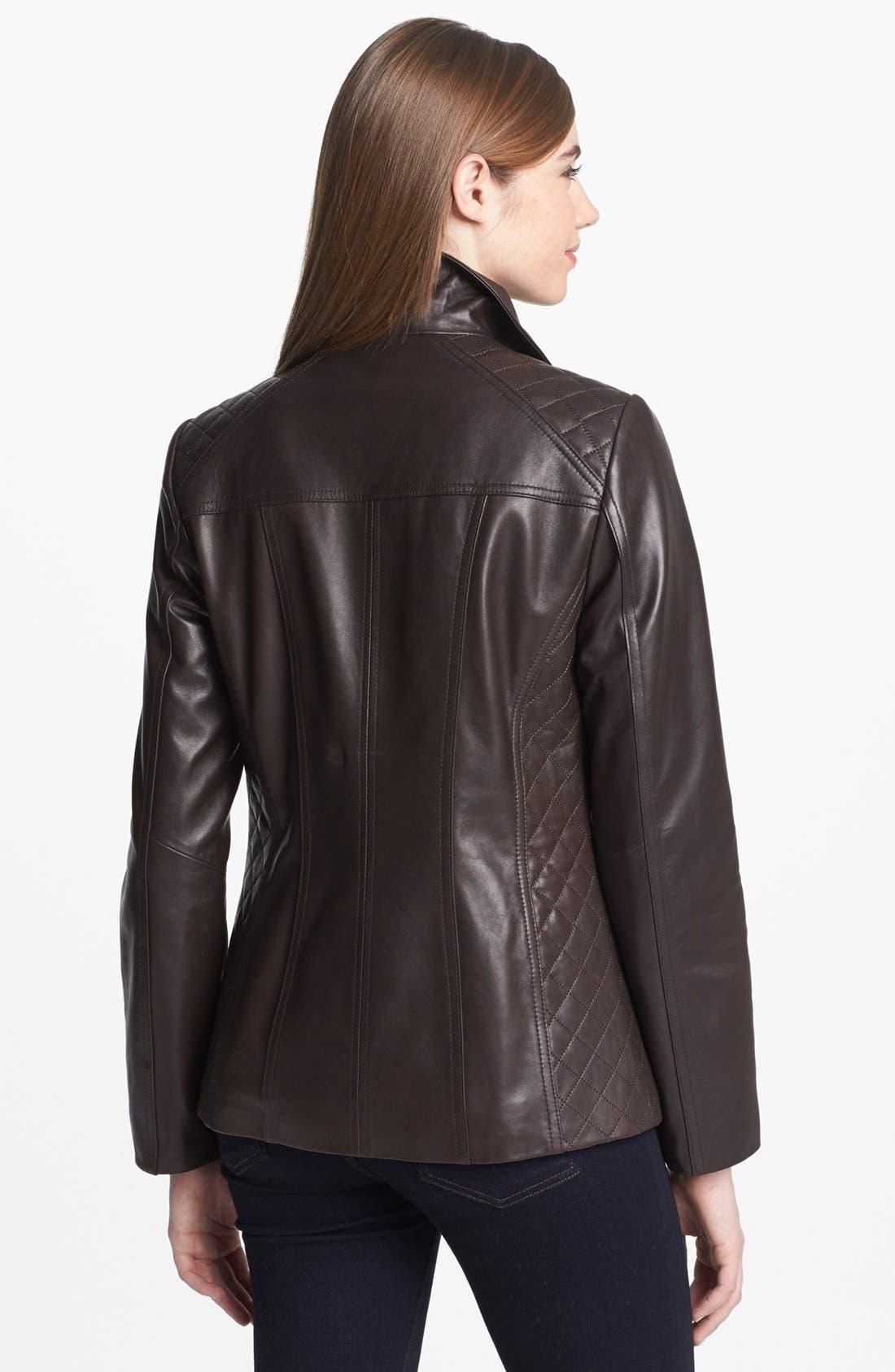 Alternate Image 2  - Ellen Tracy Quilt Trim Leather Jacket
