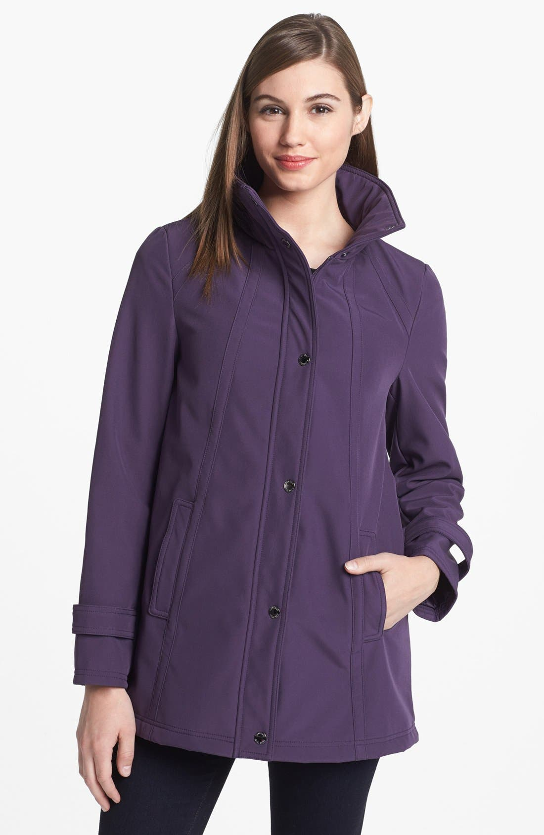 Main Image - Ellen Tracy Soft Shell A-Line Coat (Regular & Petite)