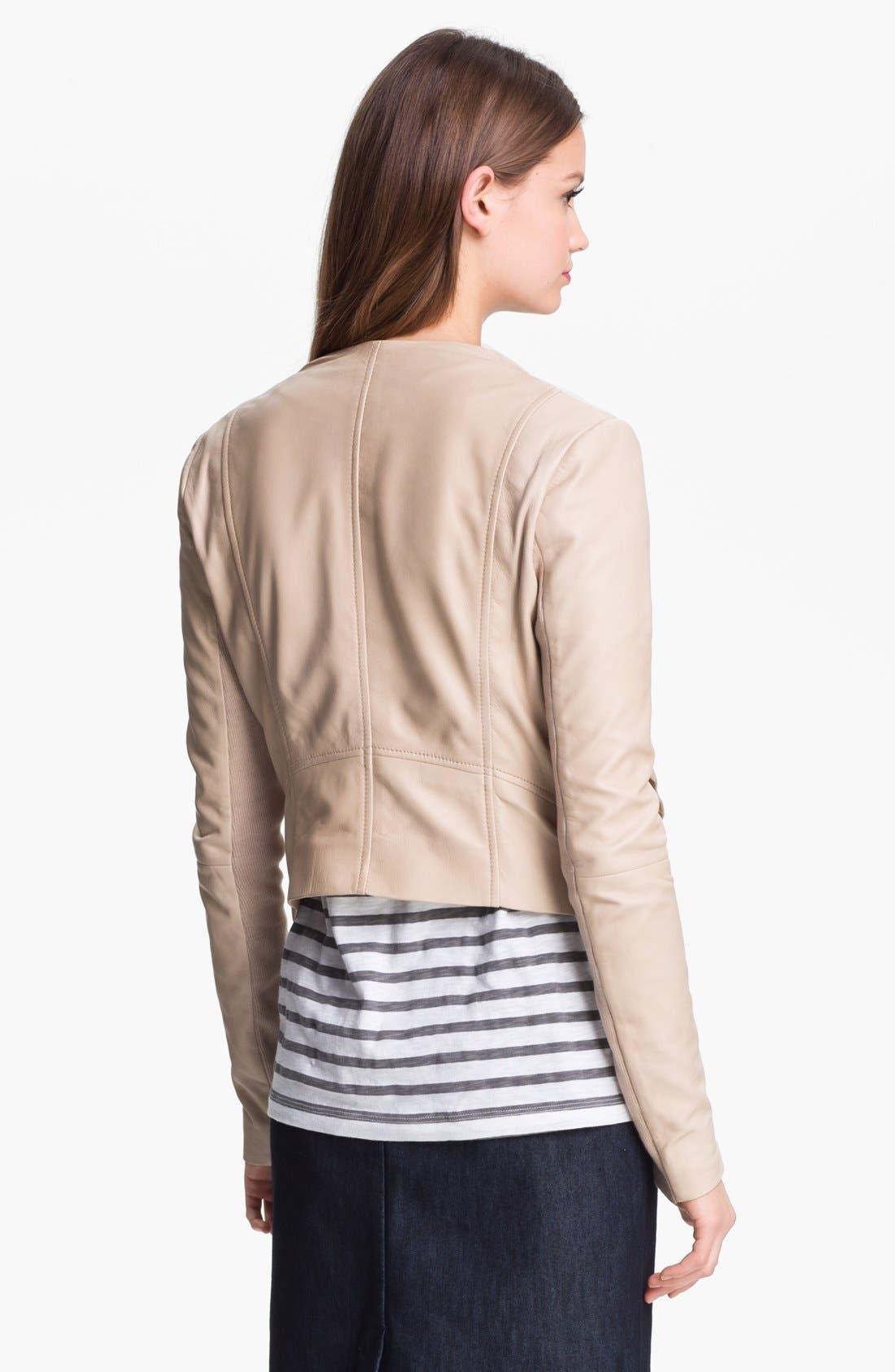 Alternate Image 2  - Halogen® 'Waterfall' Leather Jacket (Petite)