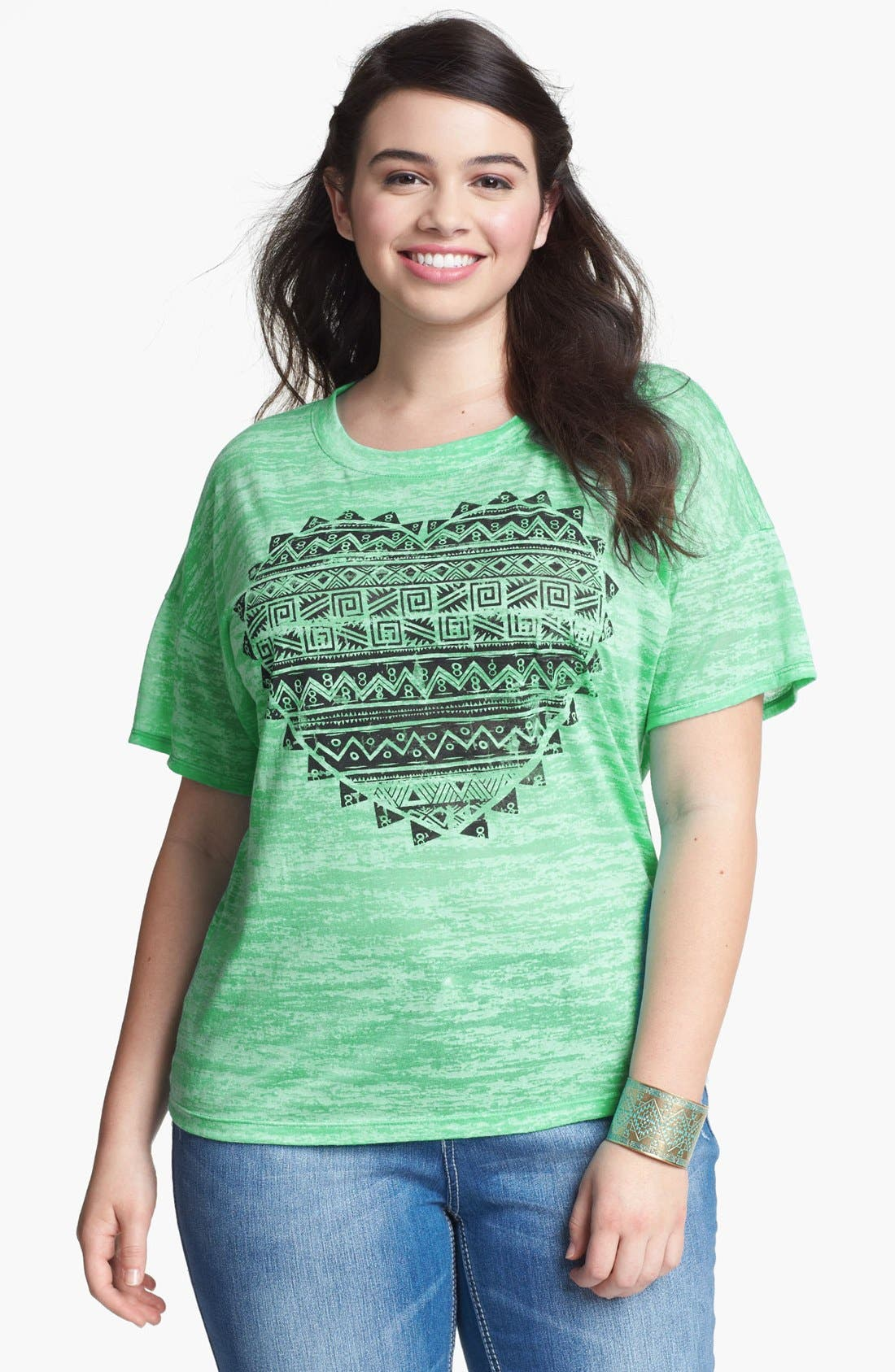 Alternate Image 1 Selected - Painted Threads 'Heart' Graphic Tee (Juniors Plus)
