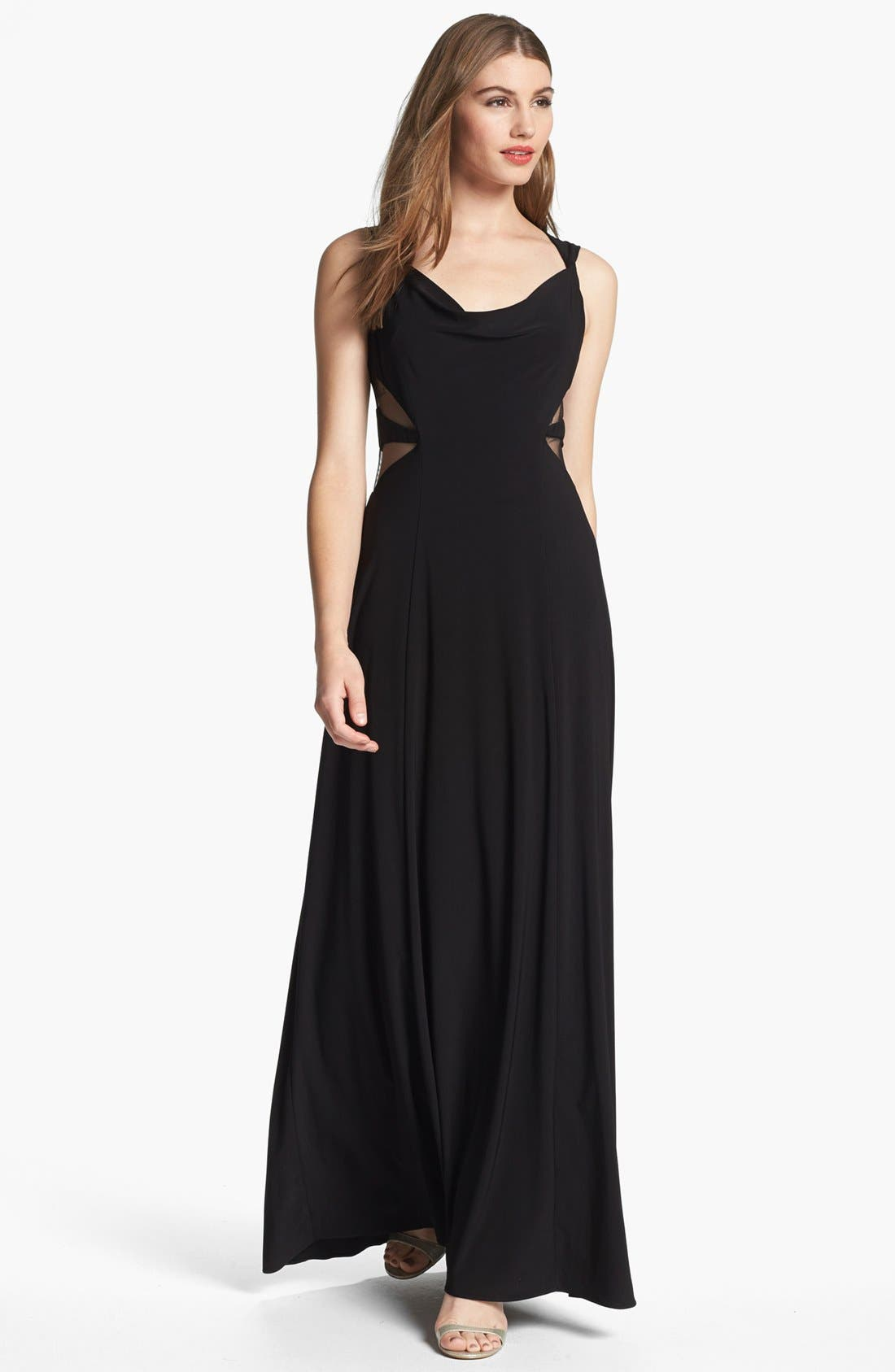 Alternate Image 2  - Hailey by Adrianna Papell Mesh Inset Jersey Gown