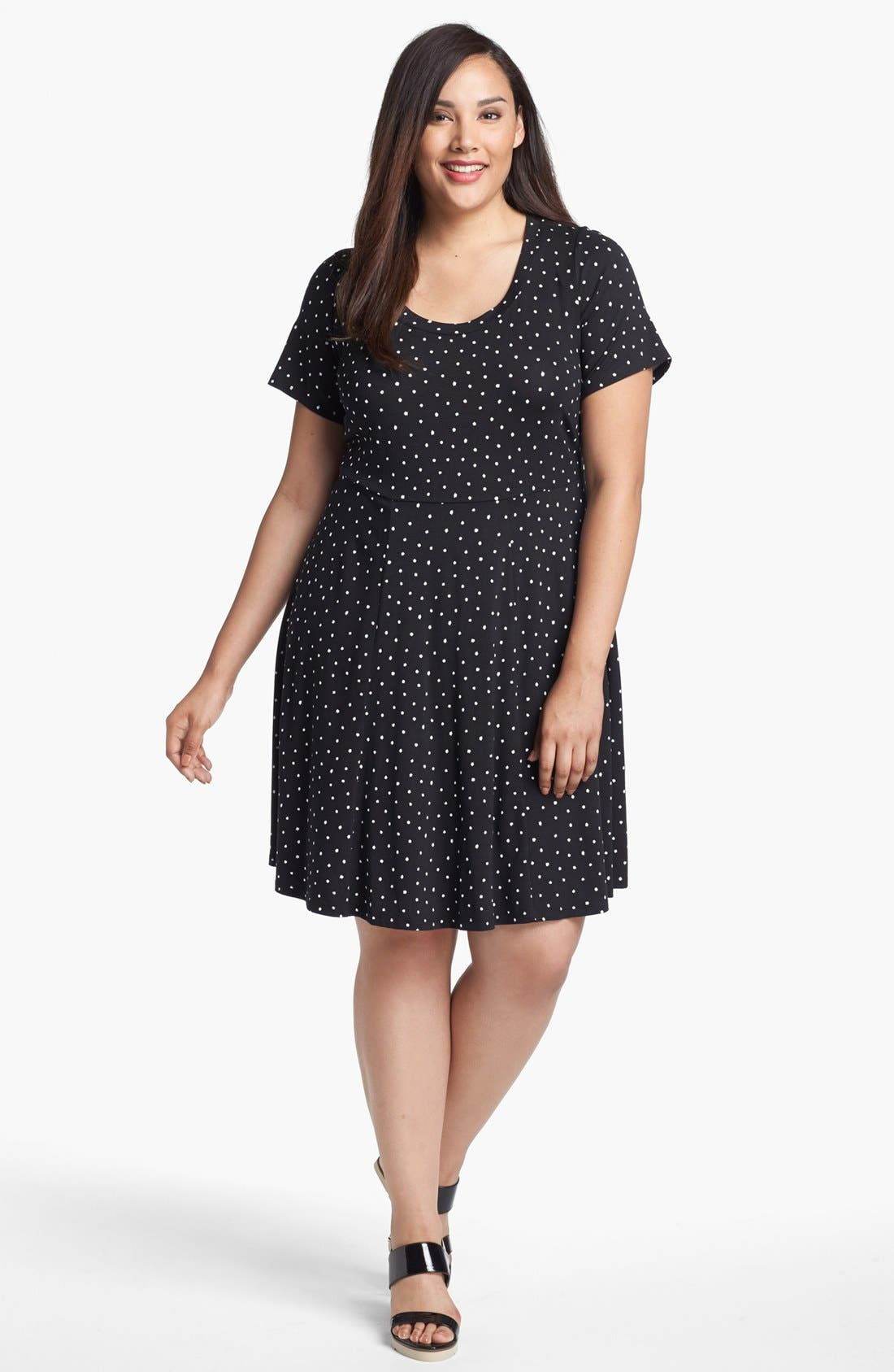 Alternate Image 1 Selected - Evans Polka Dot Skater Dress (Plus Size)