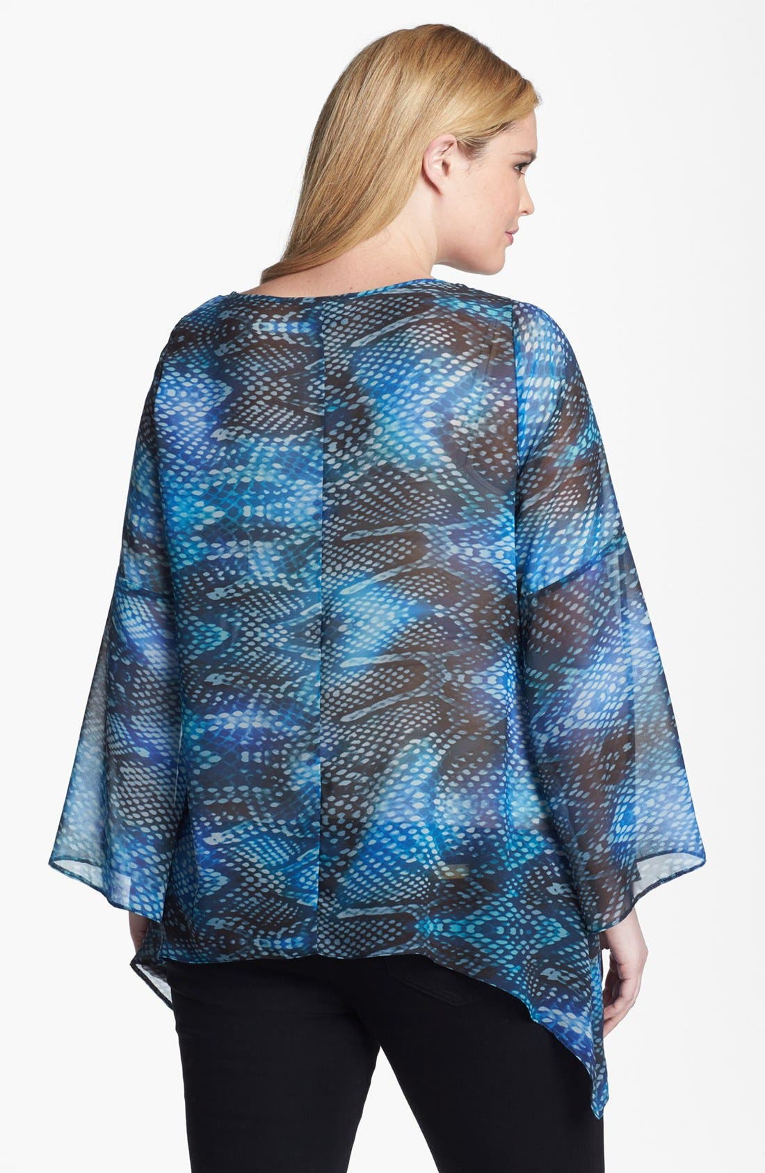 Alternate Image 2  - Evans Print Chiffon Tunic (Plus Size)