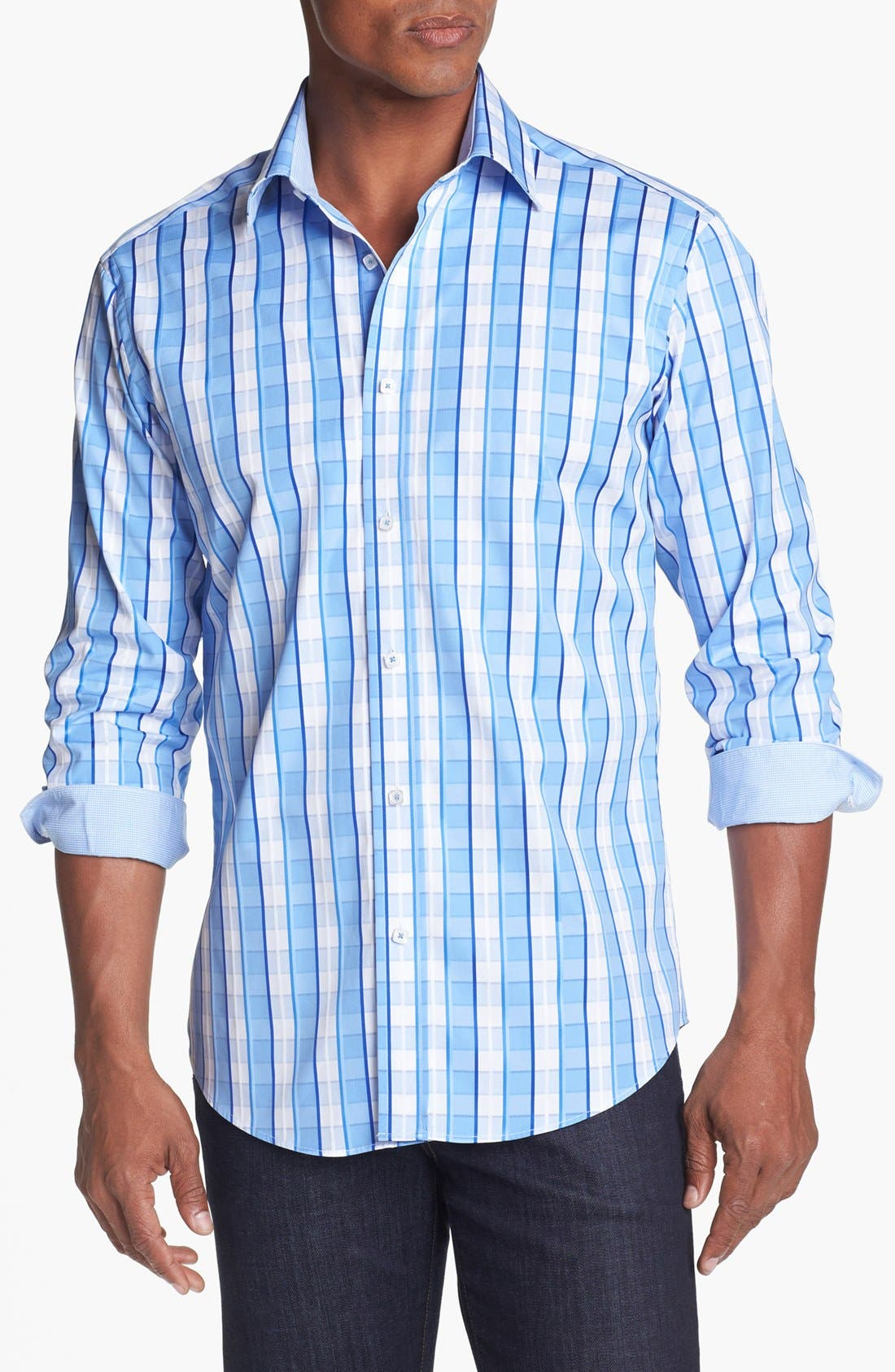 Alternate Image 1 Selected - Bugatchi Check Shaped Fit Cotton Sport Shirt