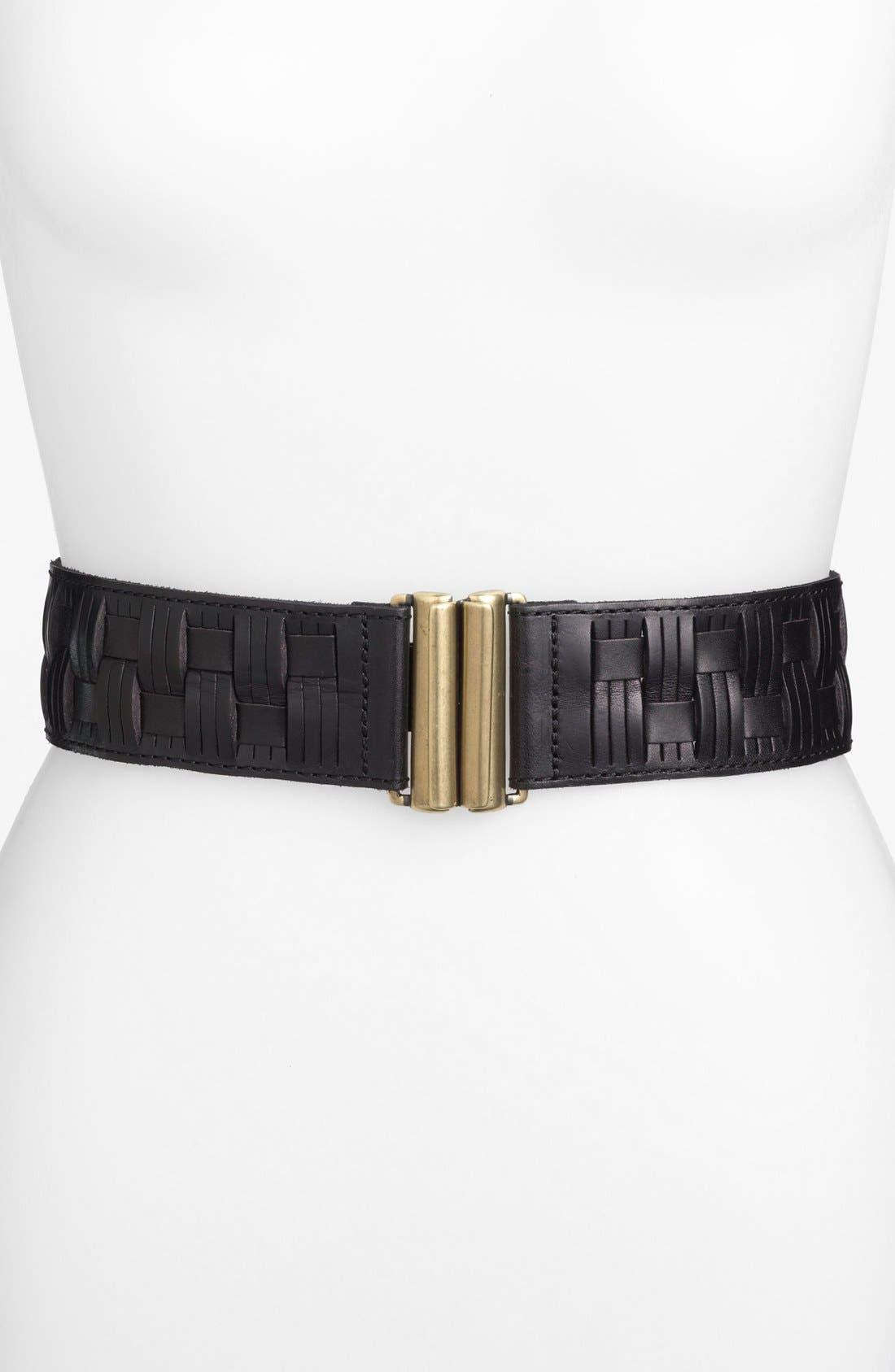Alternate Image 1 Selected - Fossil Basket Weave Stretch Belt