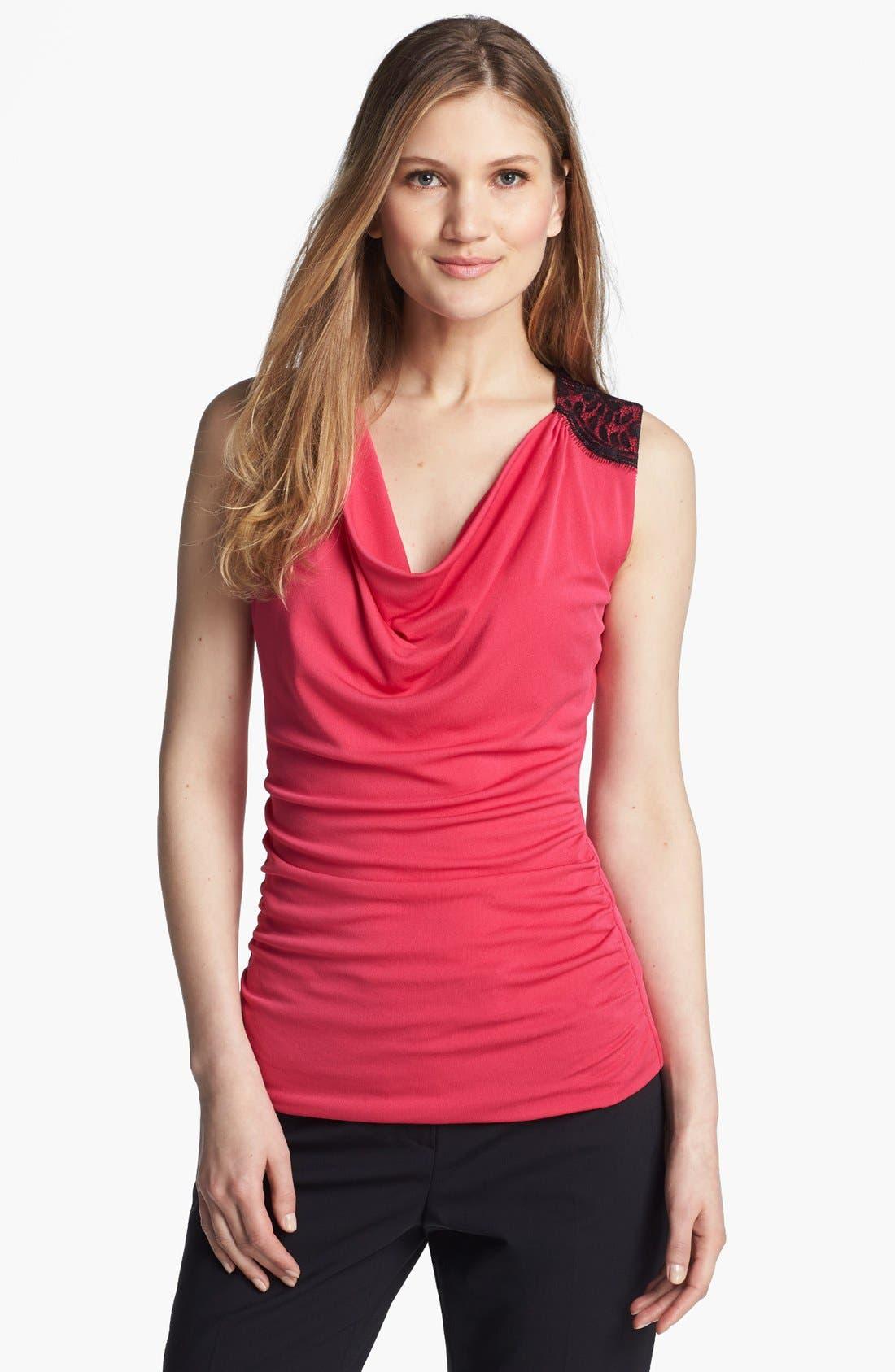 Main Image - Classiques Entier® Lace Trim Drape Neck Jersey Top