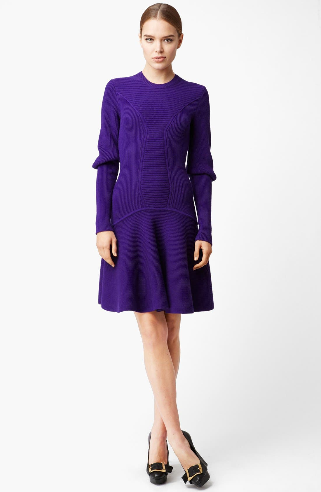 Alternate Image 1 Selected - Alexander McQueen Full Skirt Ribbed Dress with Removable Collar