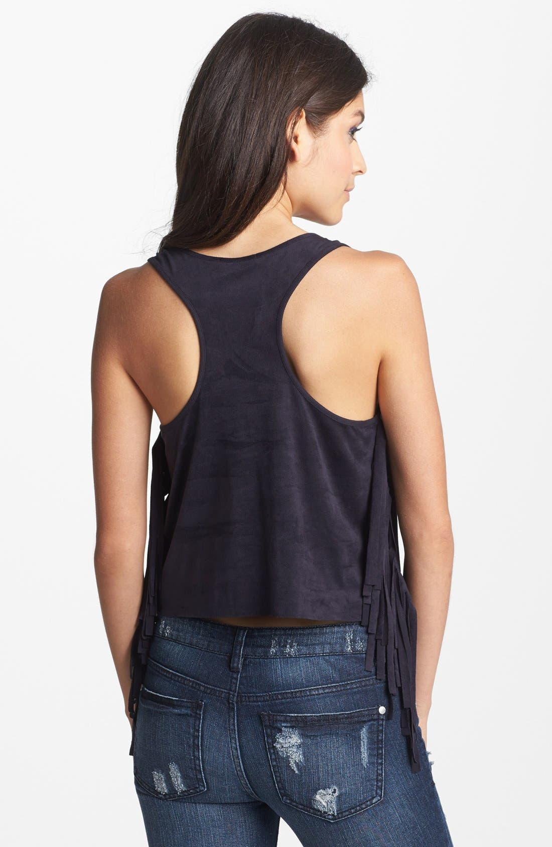 Alternate Image 2  - Soprano Fringe Faux Suede Crop Tank (Juniors)