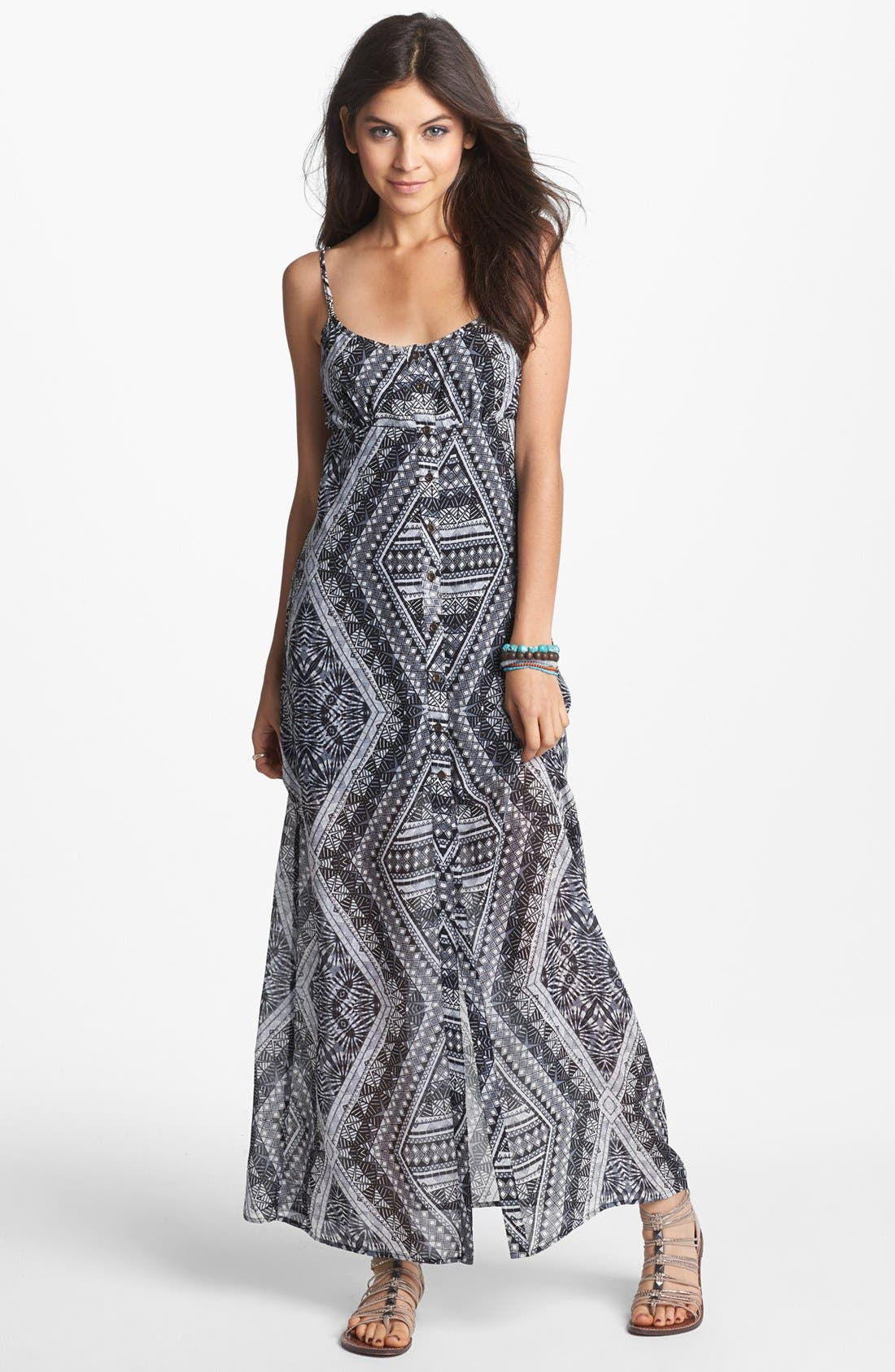 Main Image - Mimi Chica Back Cutout Print Maxi Dress (Juniors)