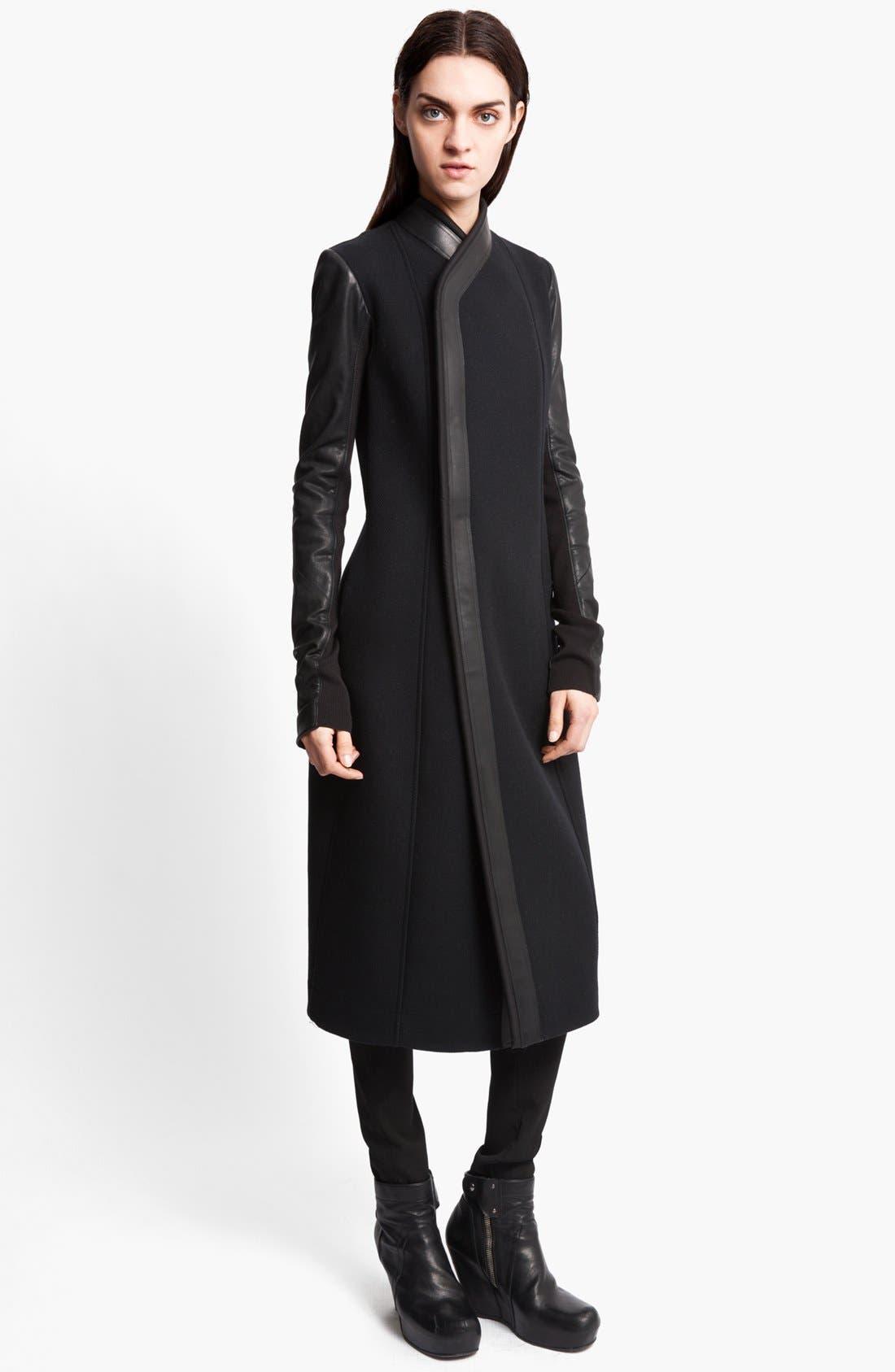 Main Image - Rick Owens Long Leather Trim Coat