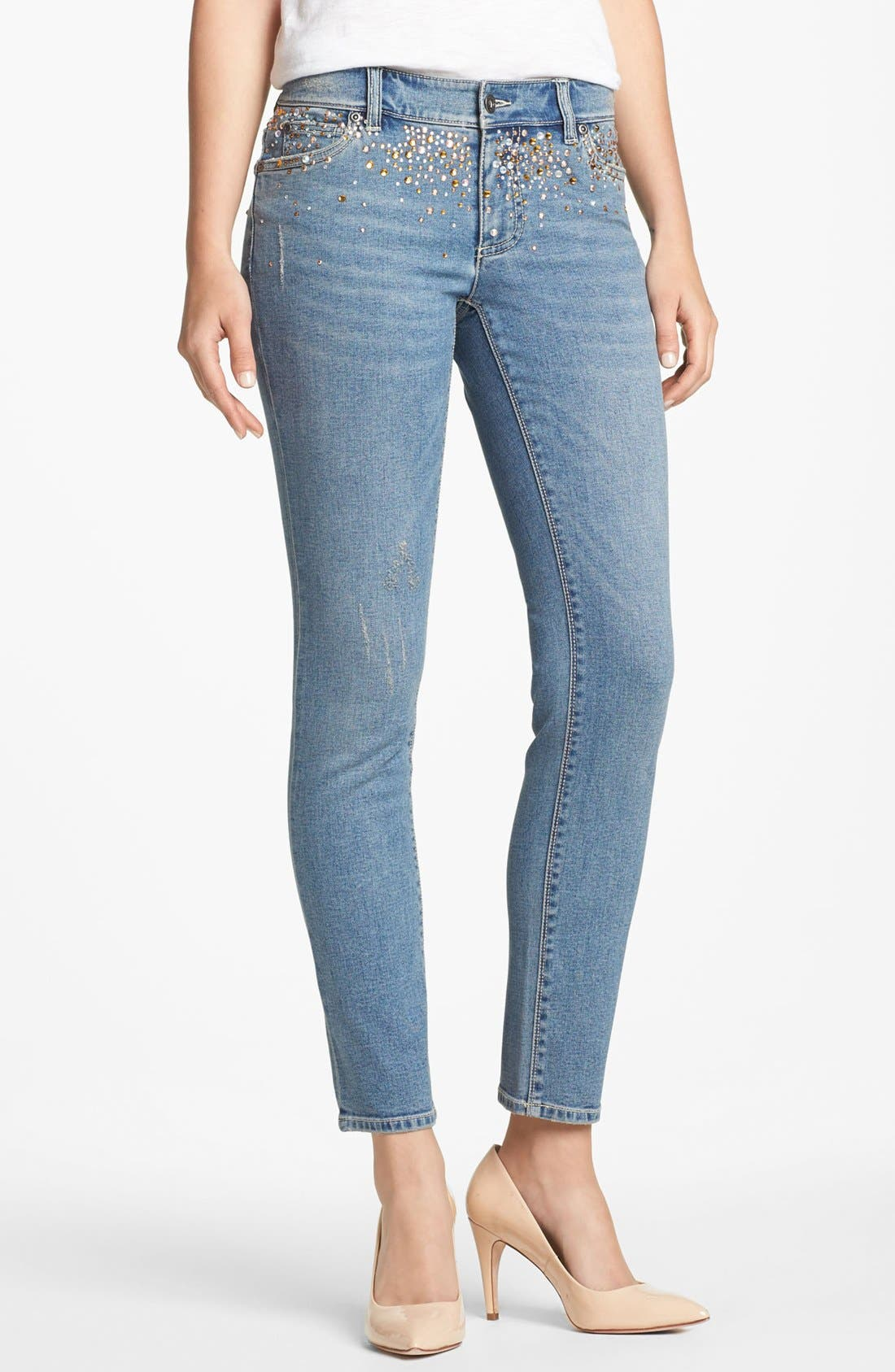 Main Image - Two by Vince Camuto Embellished Distressed Straight Leg Jeans (Petite)