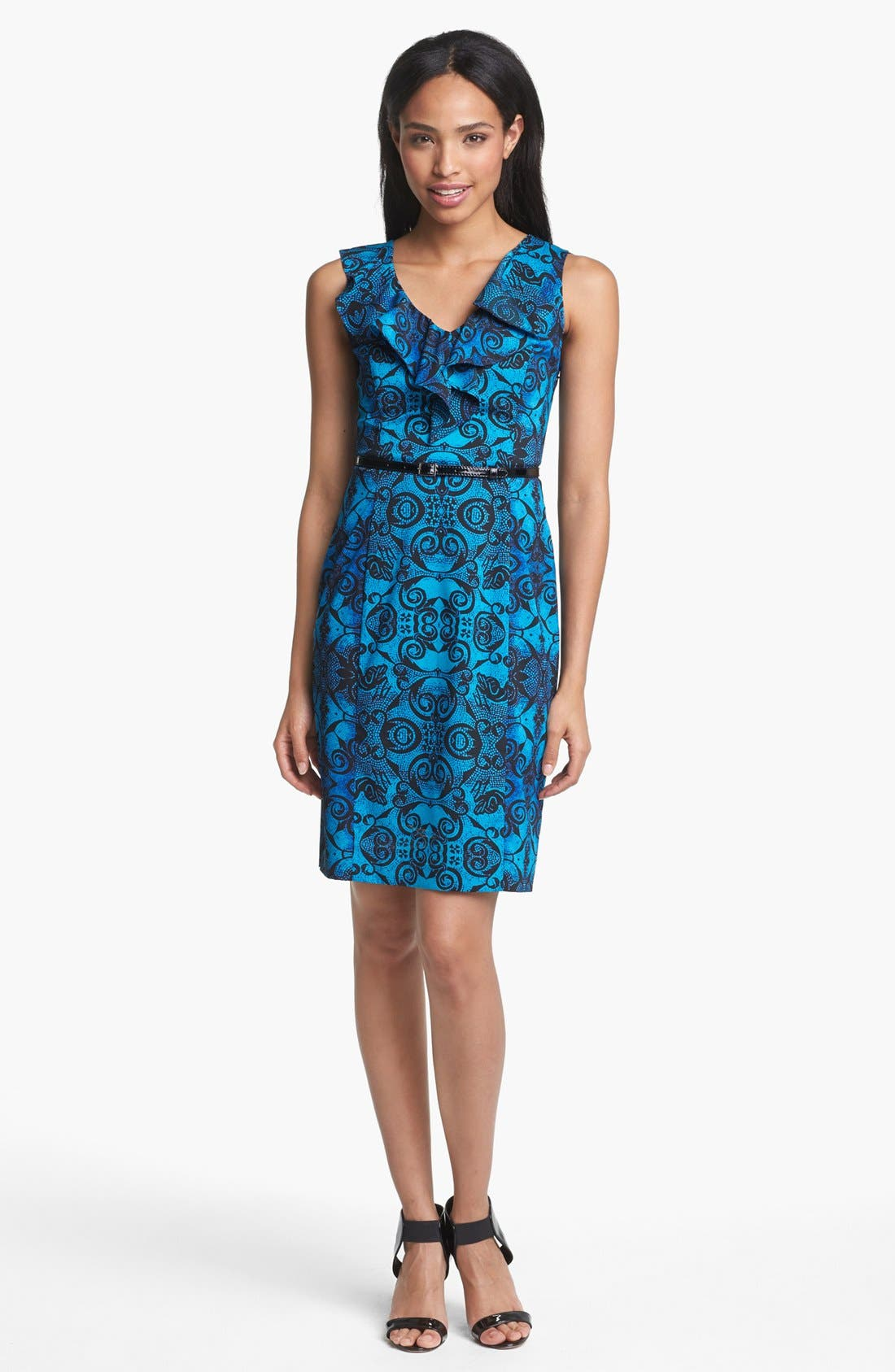 Main Image - Marc New York by Andrew Marc Ruffled Print Sheath Dress