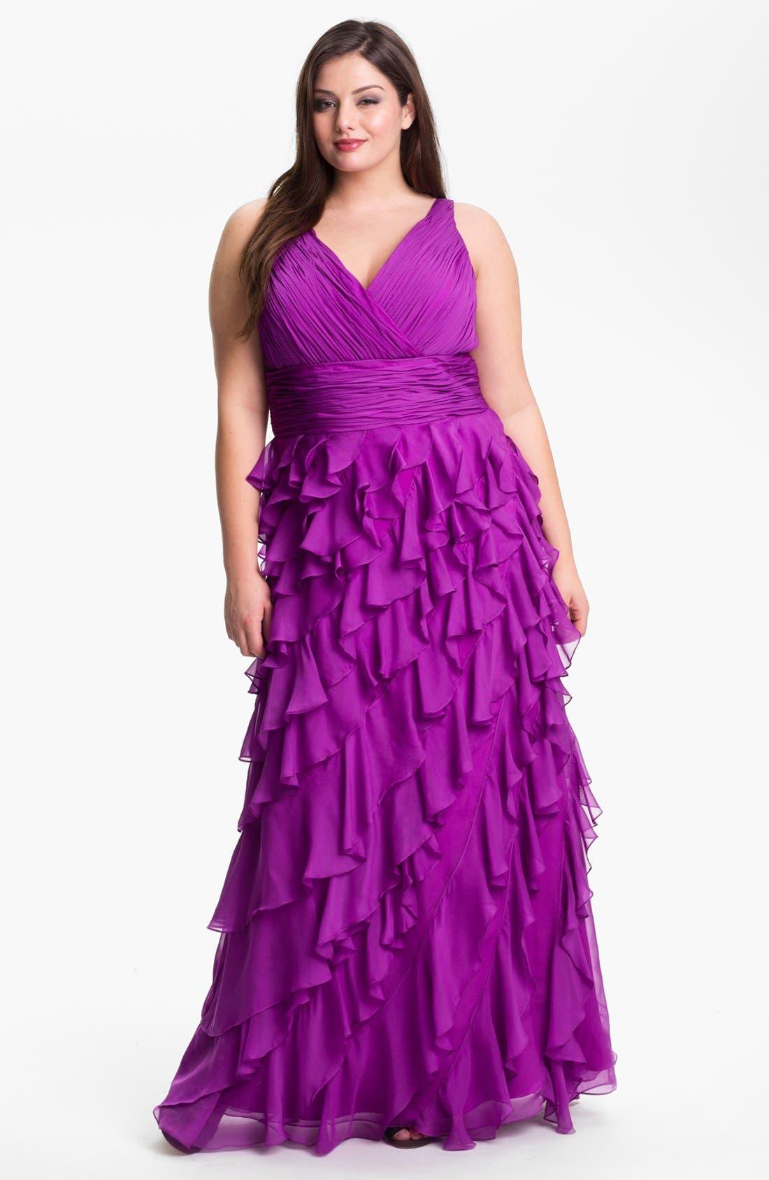 Main Image - Dalia MacPhee Ruffled Chiffon Gown (Juniors Plus)