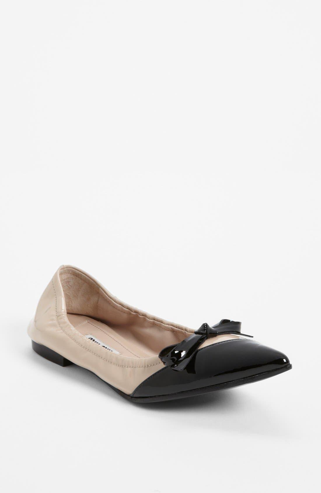 Alternate Image 1 Selected - Miu Miu Point Toe Ballet Flat