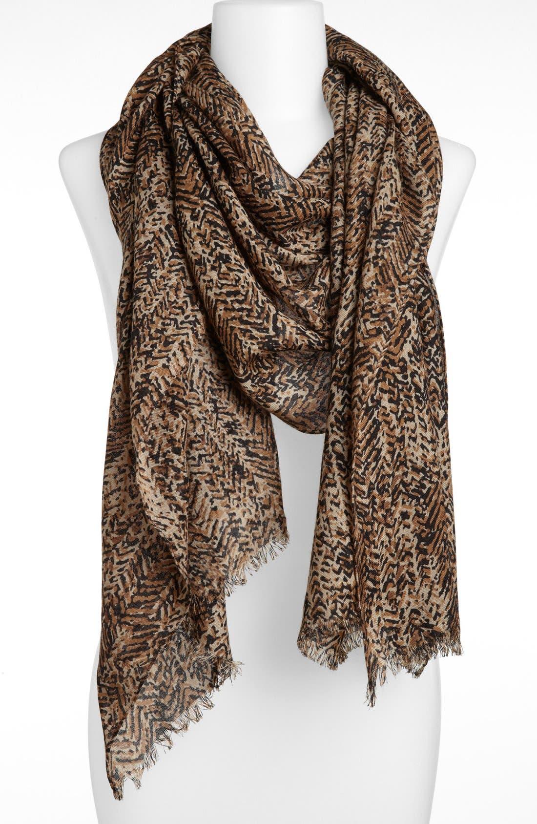 Alternate Image 1 Selected - MICHAEL Michael Kors Herringbone Print Wool Scarf (Online Only)