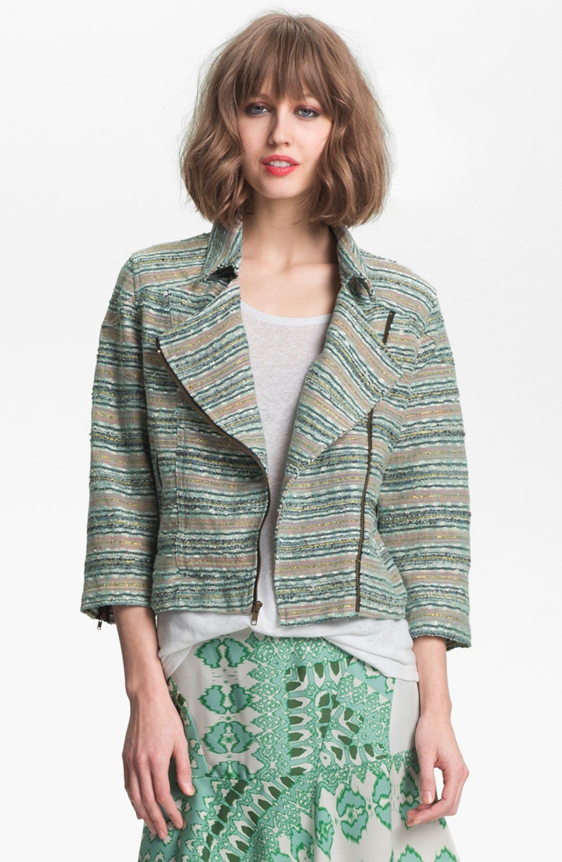 Alternate Image 1 Selected - Gibson Shimmer Stripe Biker Jacket (Petite)