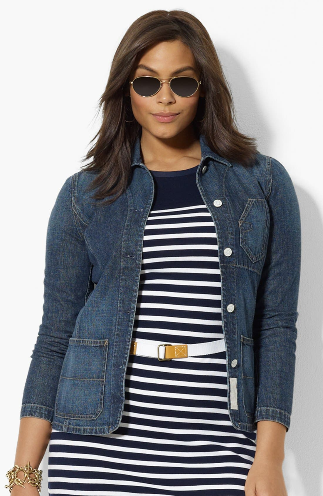 Alternate Image 1 Selected - Lauren Ralph Lauren Denim Jacket (Plus Size)