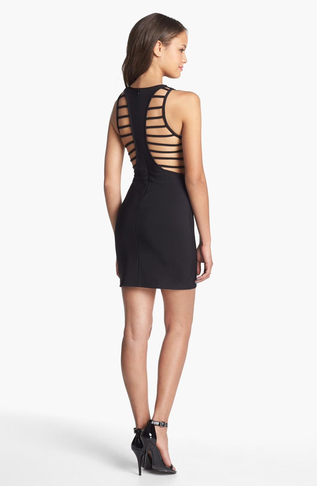 Main Image - Lush Cage Back Body-Con Dress (Juniors)