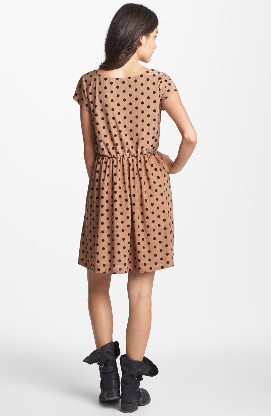 Alternate Image 2  - Minty Dot Print Elastic Waist Dress (Juniors) (Online Only)