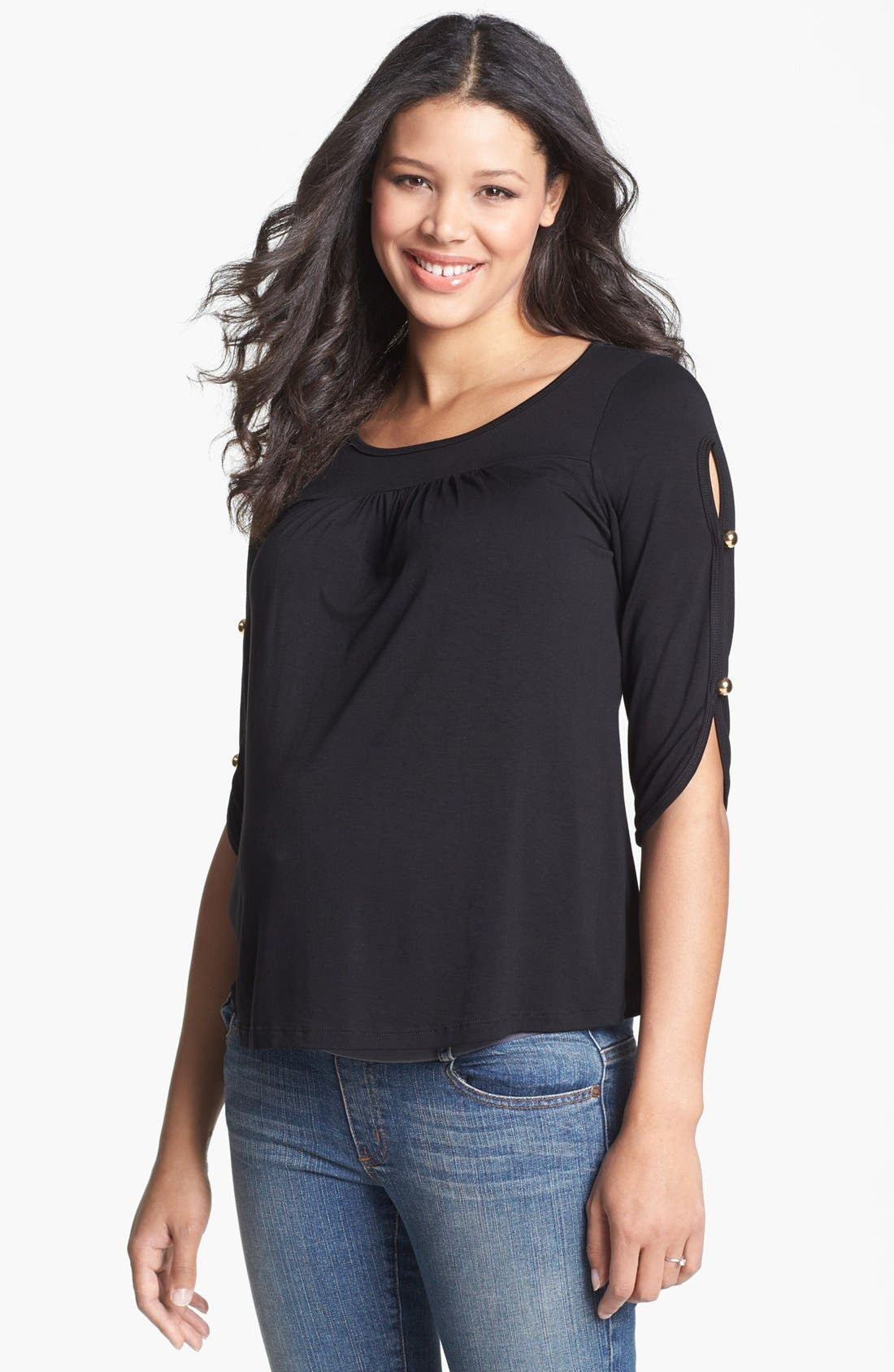 Main Image - Maternal America Button Sleeve Maternity Top