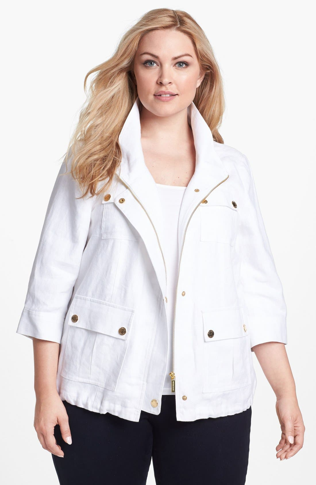 Main Image - MICHAEL Michael Kors Wide Collar Linen Jacket (Plus Size)