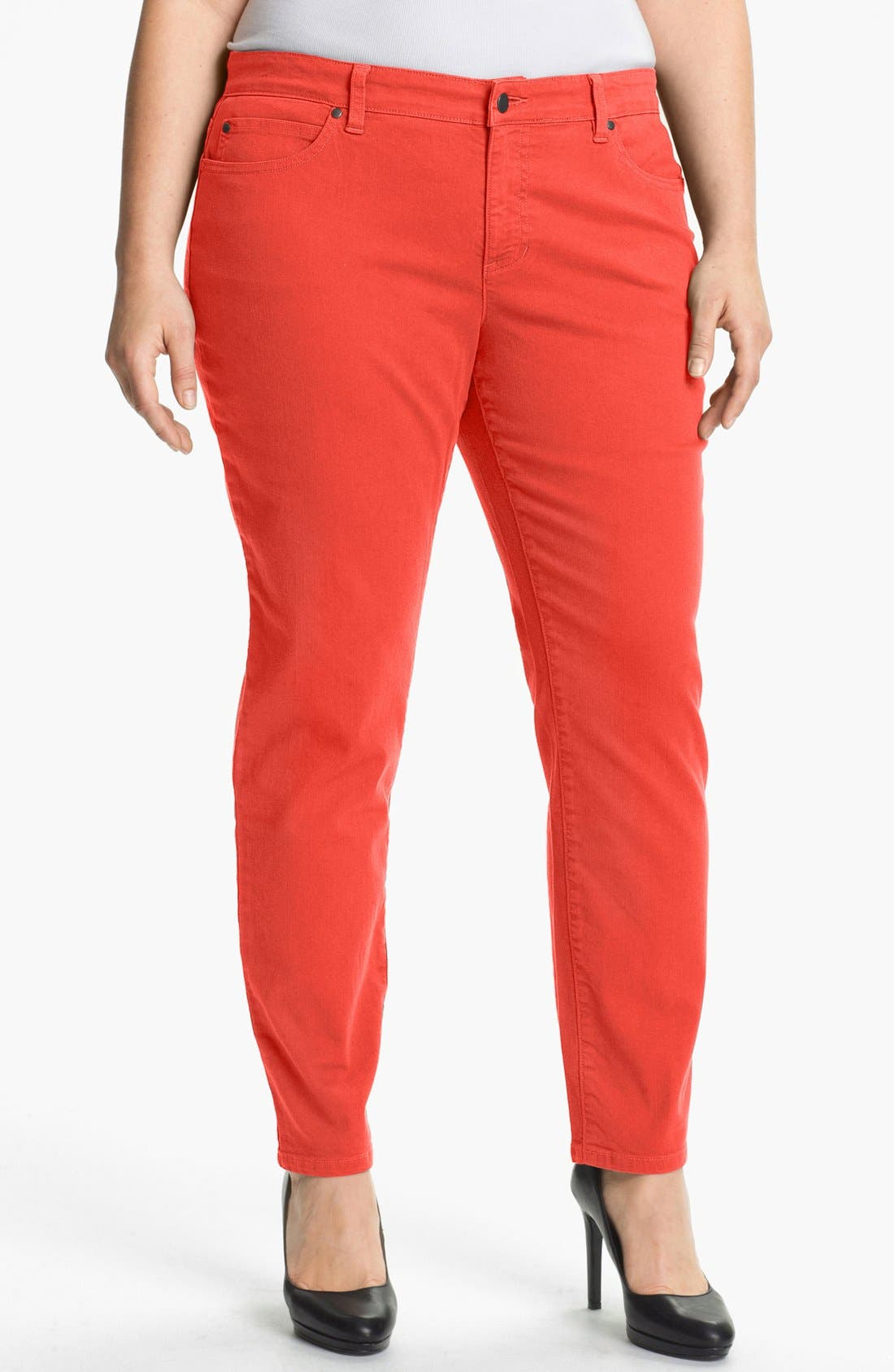 Main Image - Eileen Fisher Slim Ankle Jeans (Plus Size)
