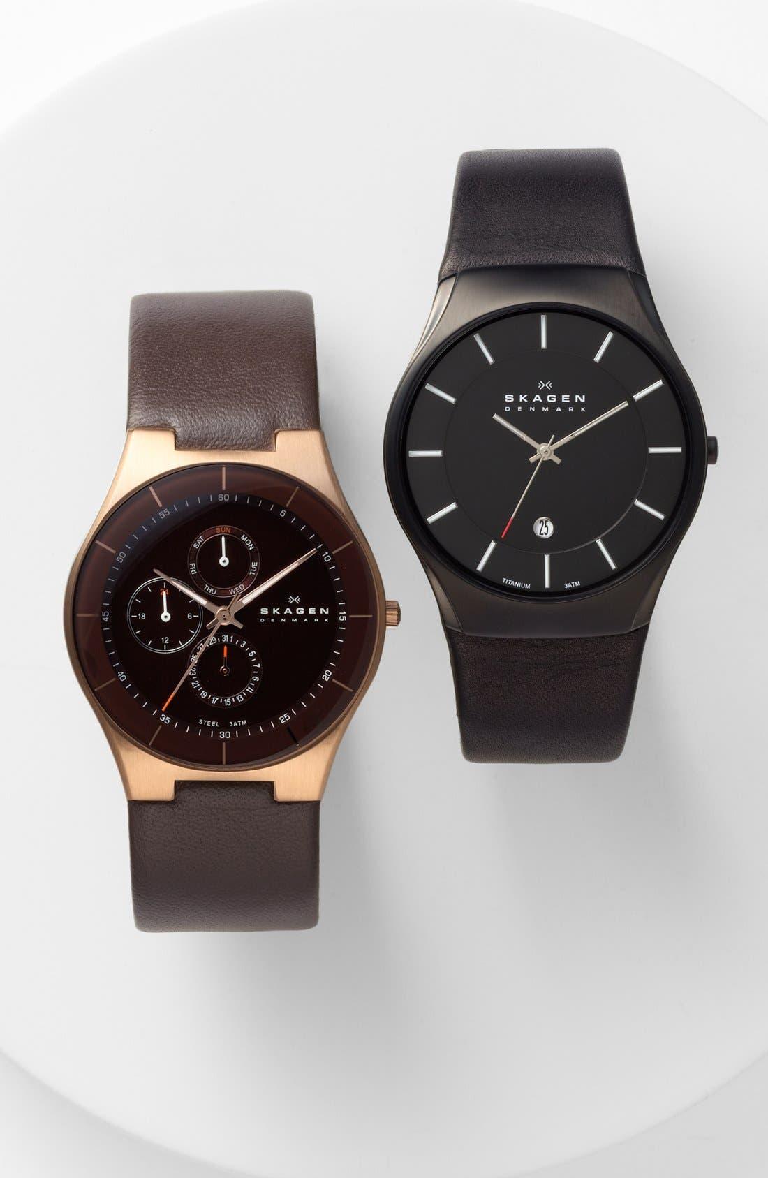Alternate Image 4  - Skagen Slim Round Leather Strap Watch, 39mm
