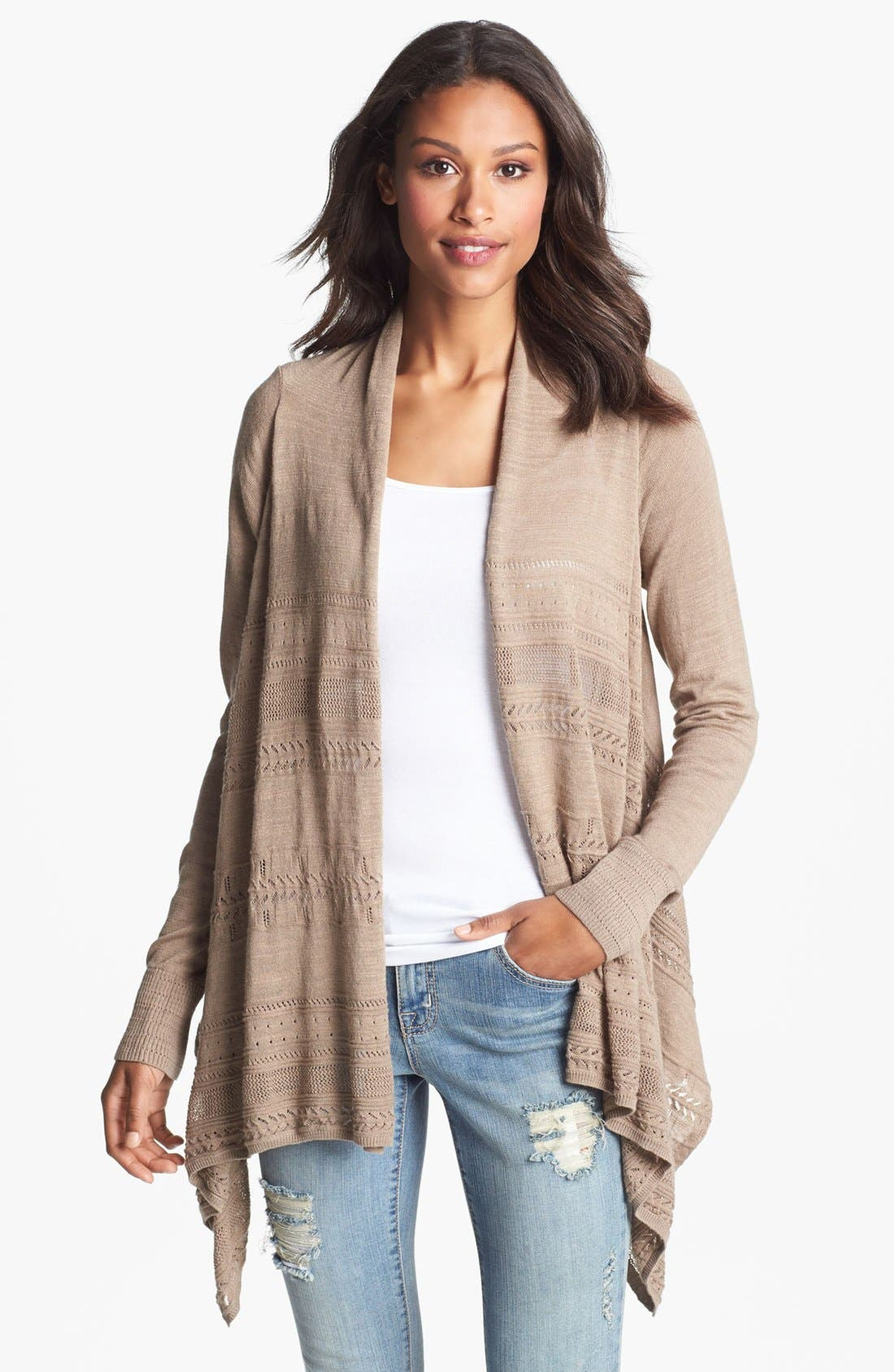 Main Image - Lucky Brand Pointelle Wrap Cardigan