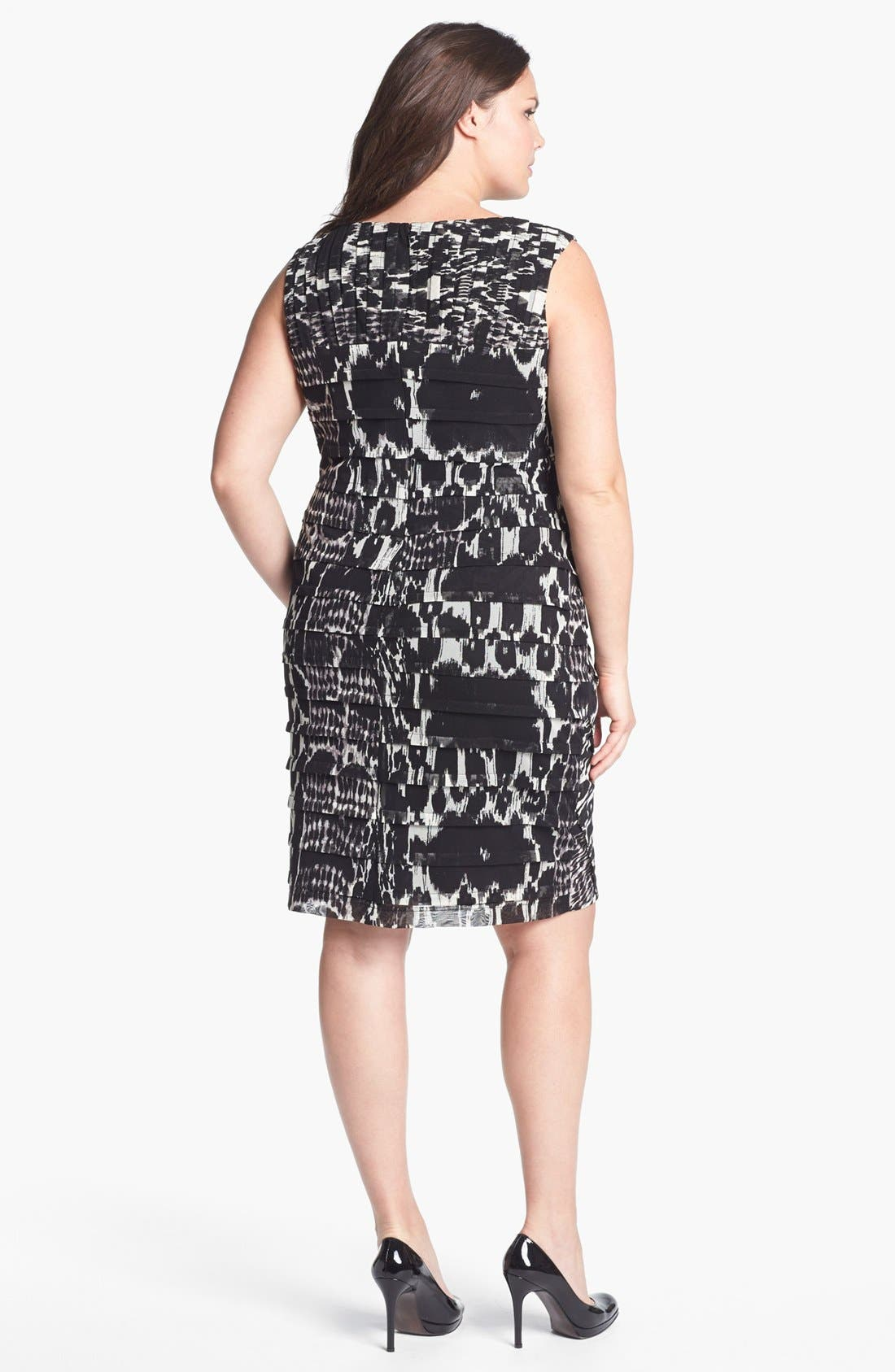 Alternate Image 2  - Adrianna Papell Print Tiered Sheath Dress (Plus Size)