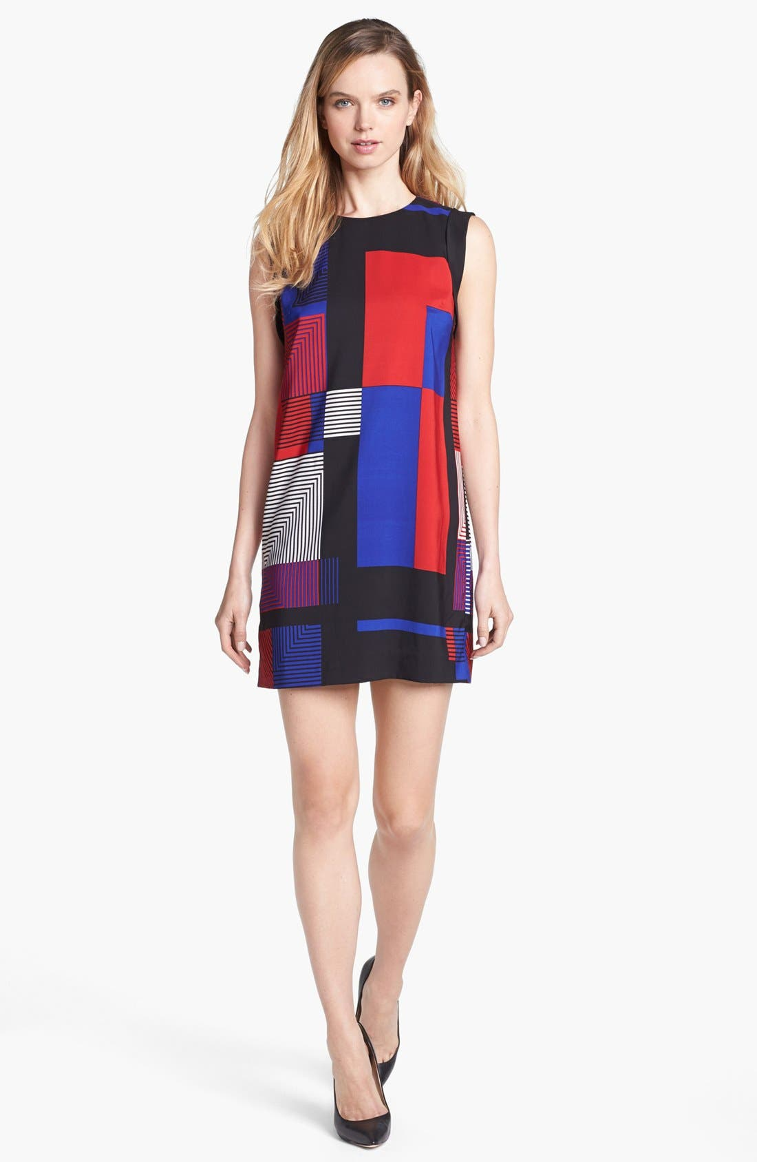 Main Image - Vince Camuto Patchwork Colorblock Shift Dress (Online Only)