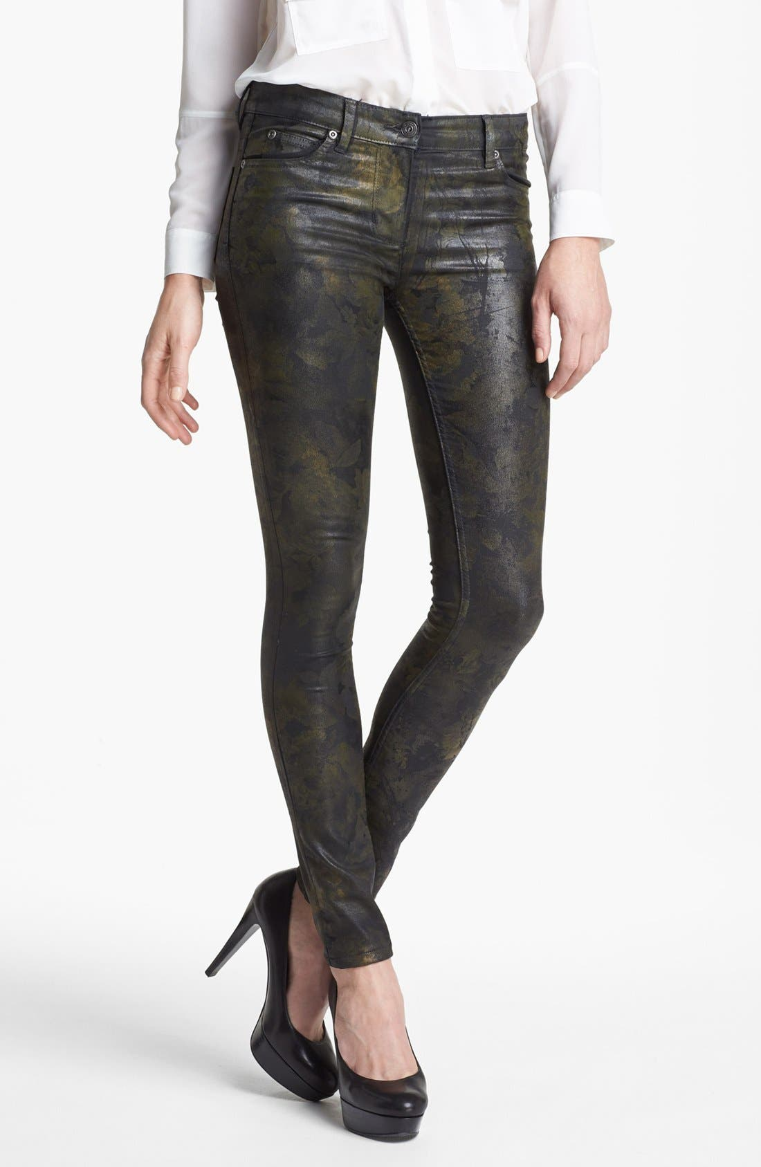 Main Image - Two by Vince Camuto Coated Print Skinny Jeans