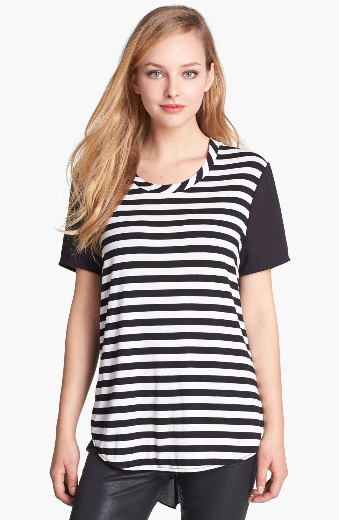 Alternate Image 1 Selected - Vince Camuto Stripe Front Mixed Media Tee