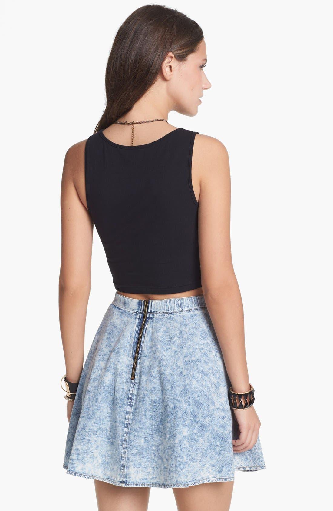 Alternate Image 2  - Mimi Chica Acid Wash Chambray Skirt (Juniors)