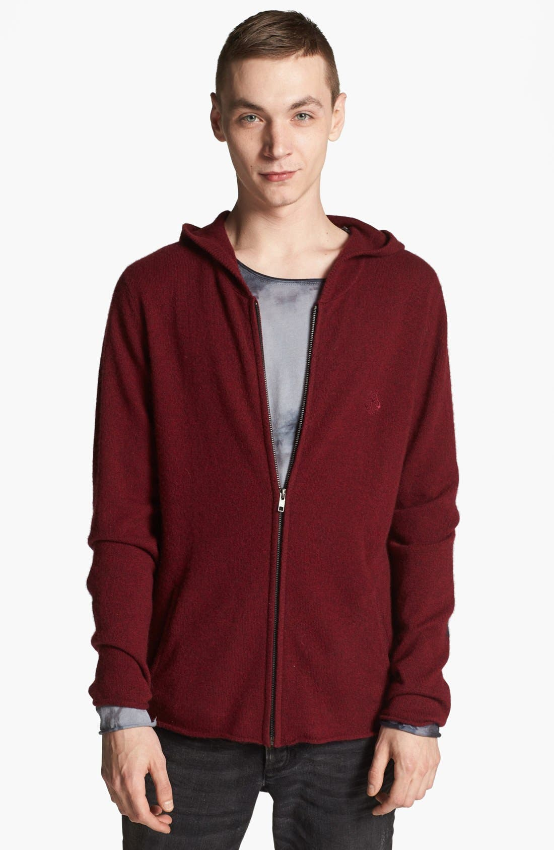Main Image - Zadig & Voltaire Cashmere Zip Hoodie with Elbow Patches