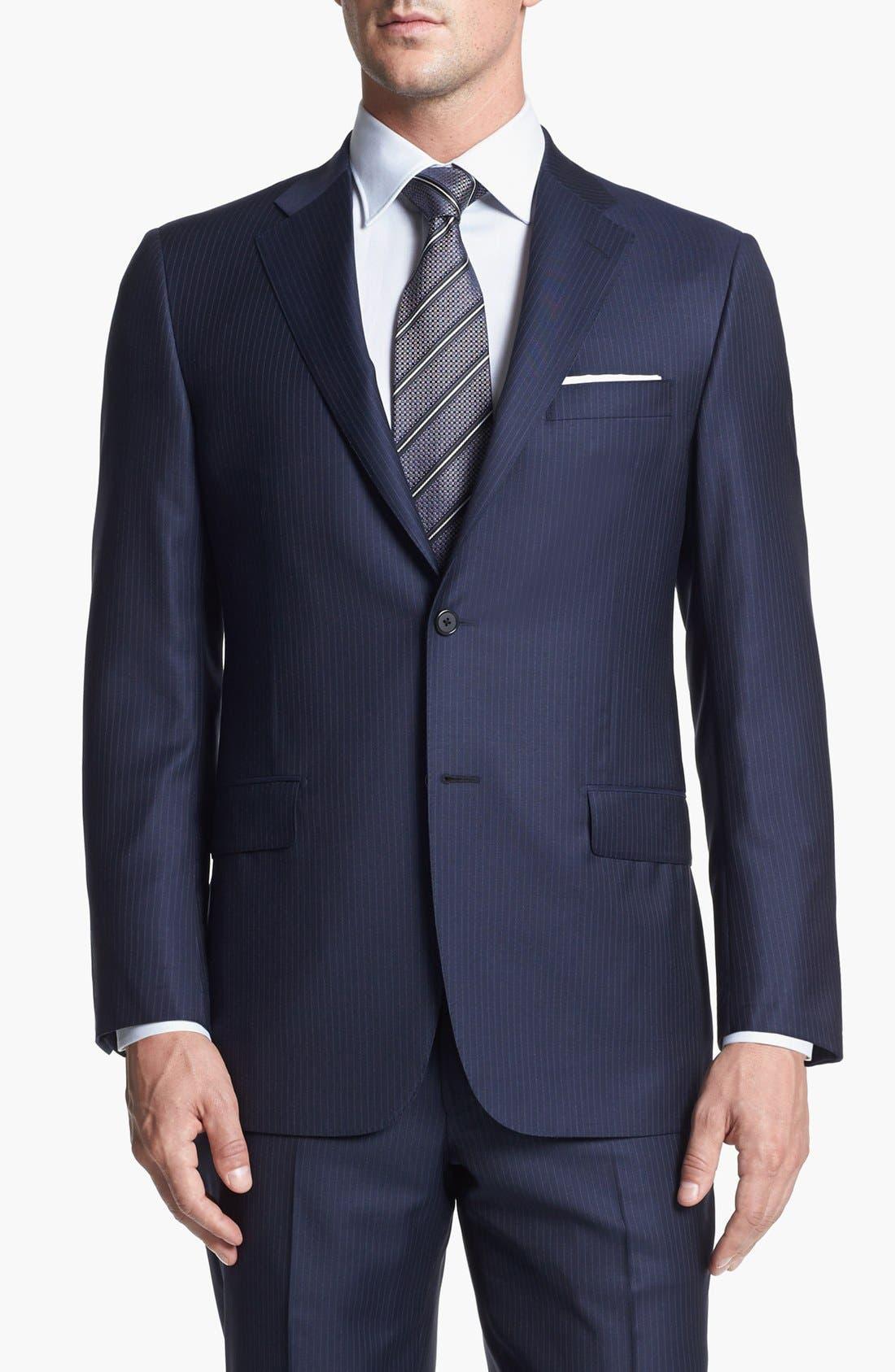 Alternate Image 4  - Hickey Freeman 'Beacon' Classic Fit Stripe Suit