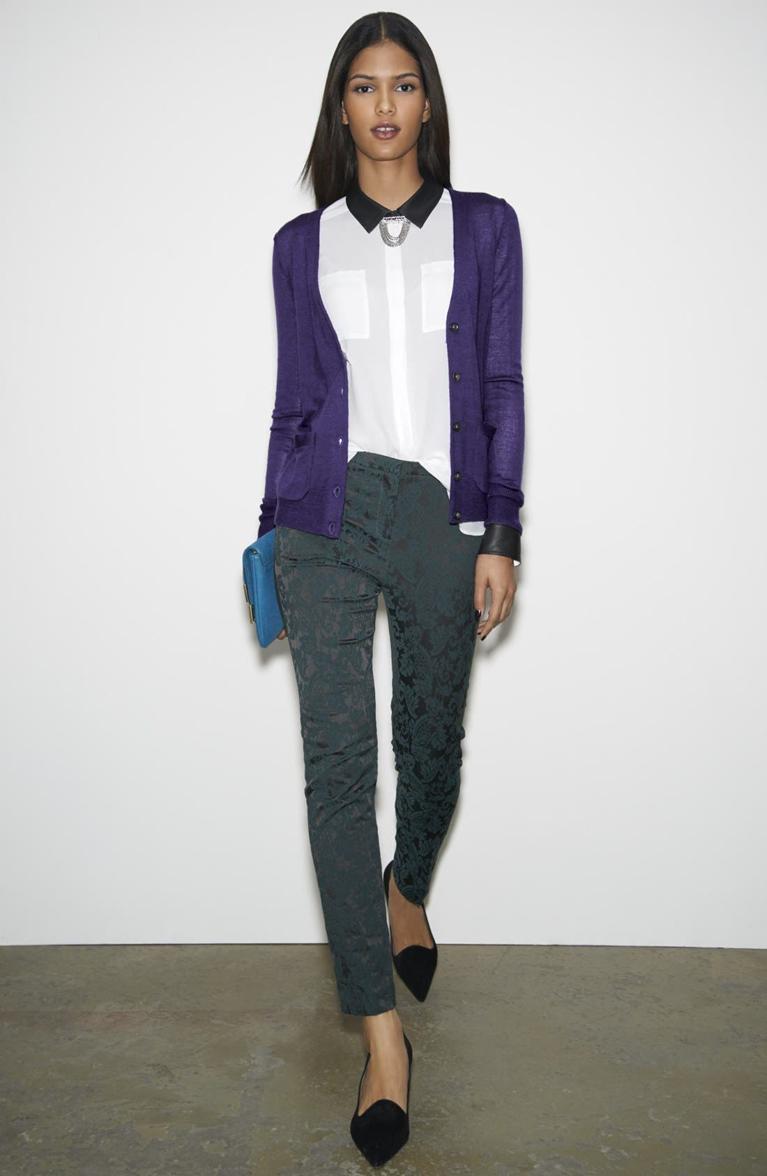 Alternate Image 1 Selected - Halogen® Cardigan, Blouse & Crop Pants