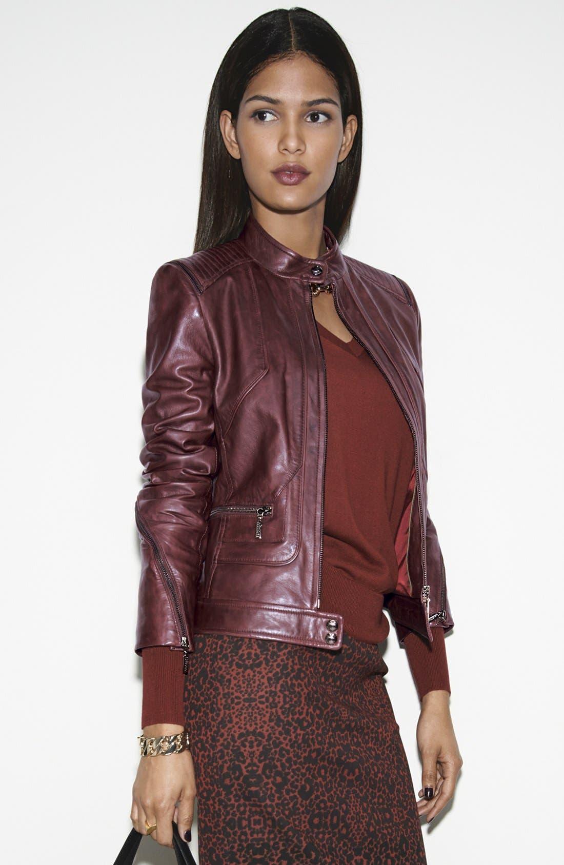 Alternate Image 4  - Bernardo Zip Trim Leather Scuba Jacket (Plus Size)