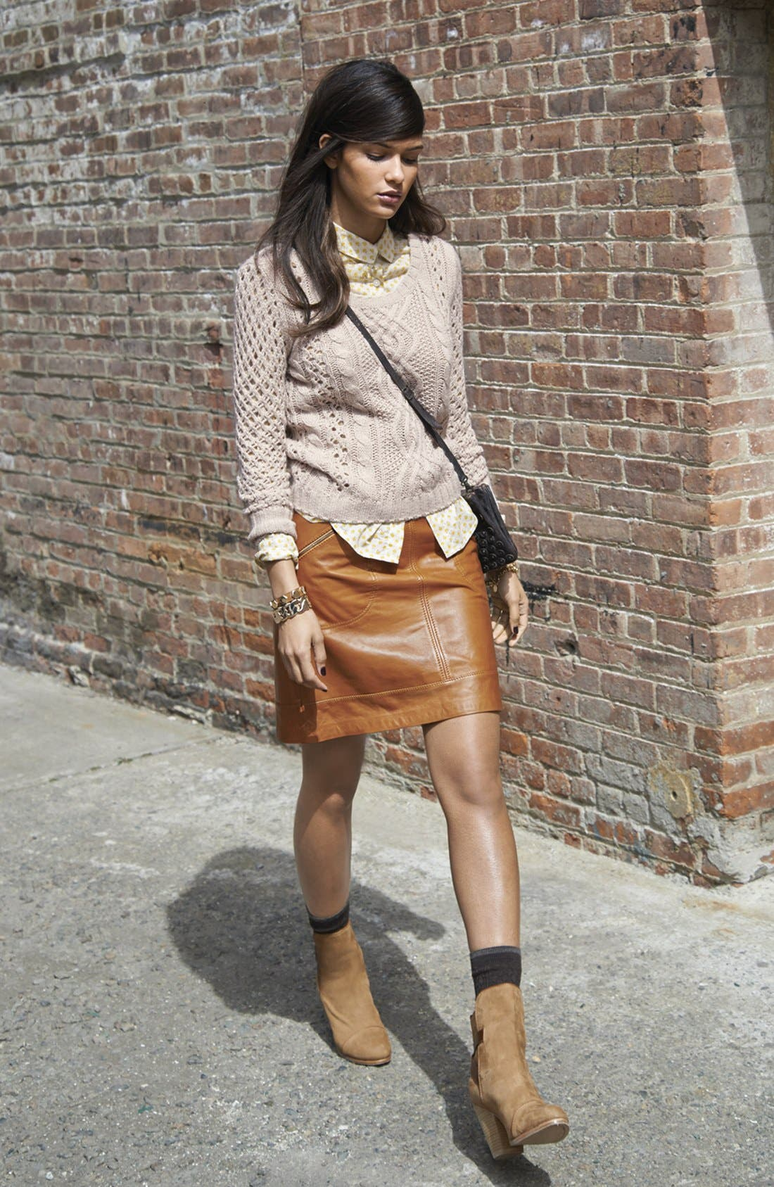 Alternate Image 6  - Halogen® Zip Pocket Leather Skirt