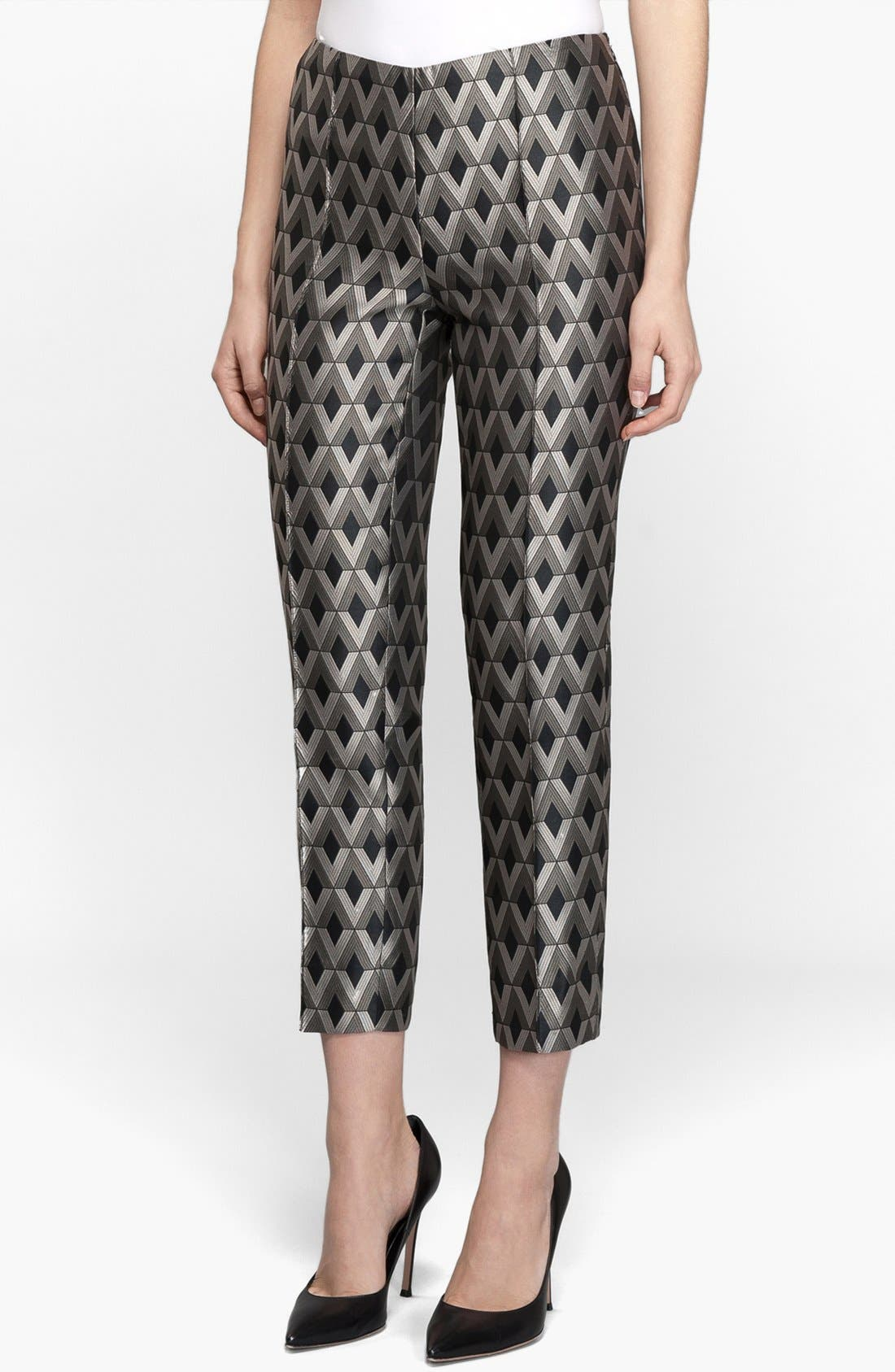 Main Image - Lafayette 148 New York Print Skinny Crop Pants