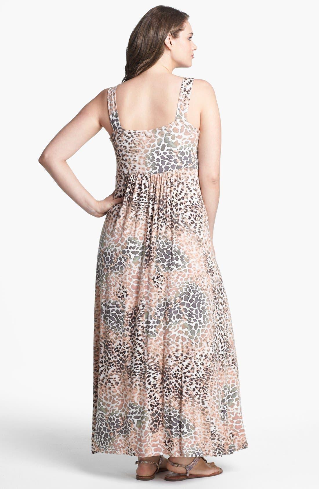 Alternate Image 2  - Loveappella Print Jersey Maxi Dress (Plus Size)