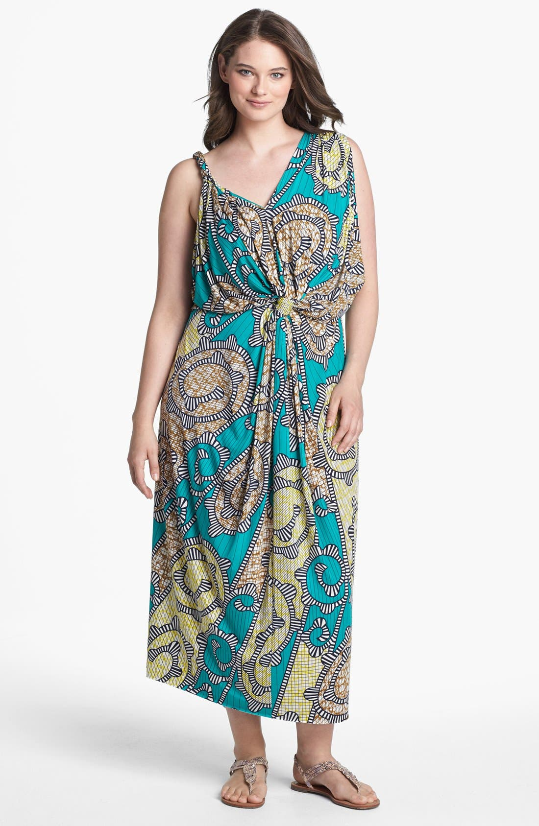 Main Image - Tbags Los Angeles Print Front Twist Maxi Dress (Plus Size)