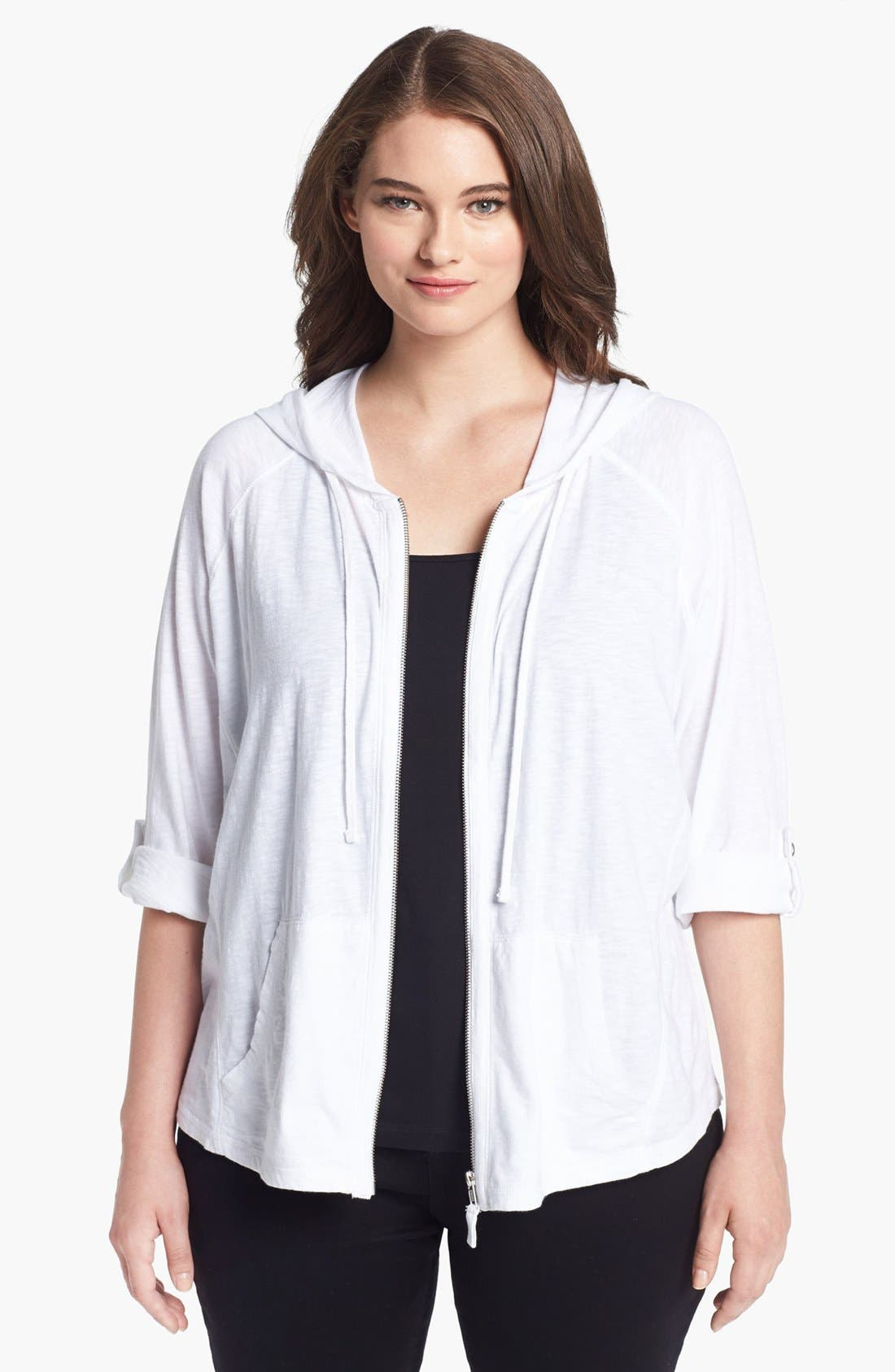 Main Image - Sejour Roll Sleeve Hoodie (Plus Size)