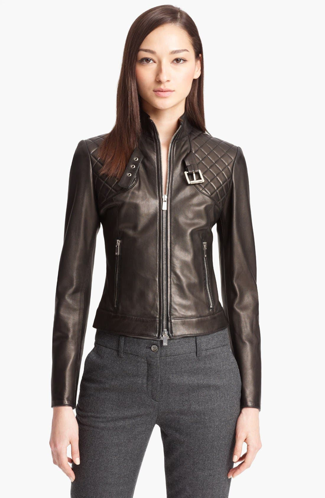 Alternate Image 1 Selected - Michael Kors Quilted Plonge Leather Jacket