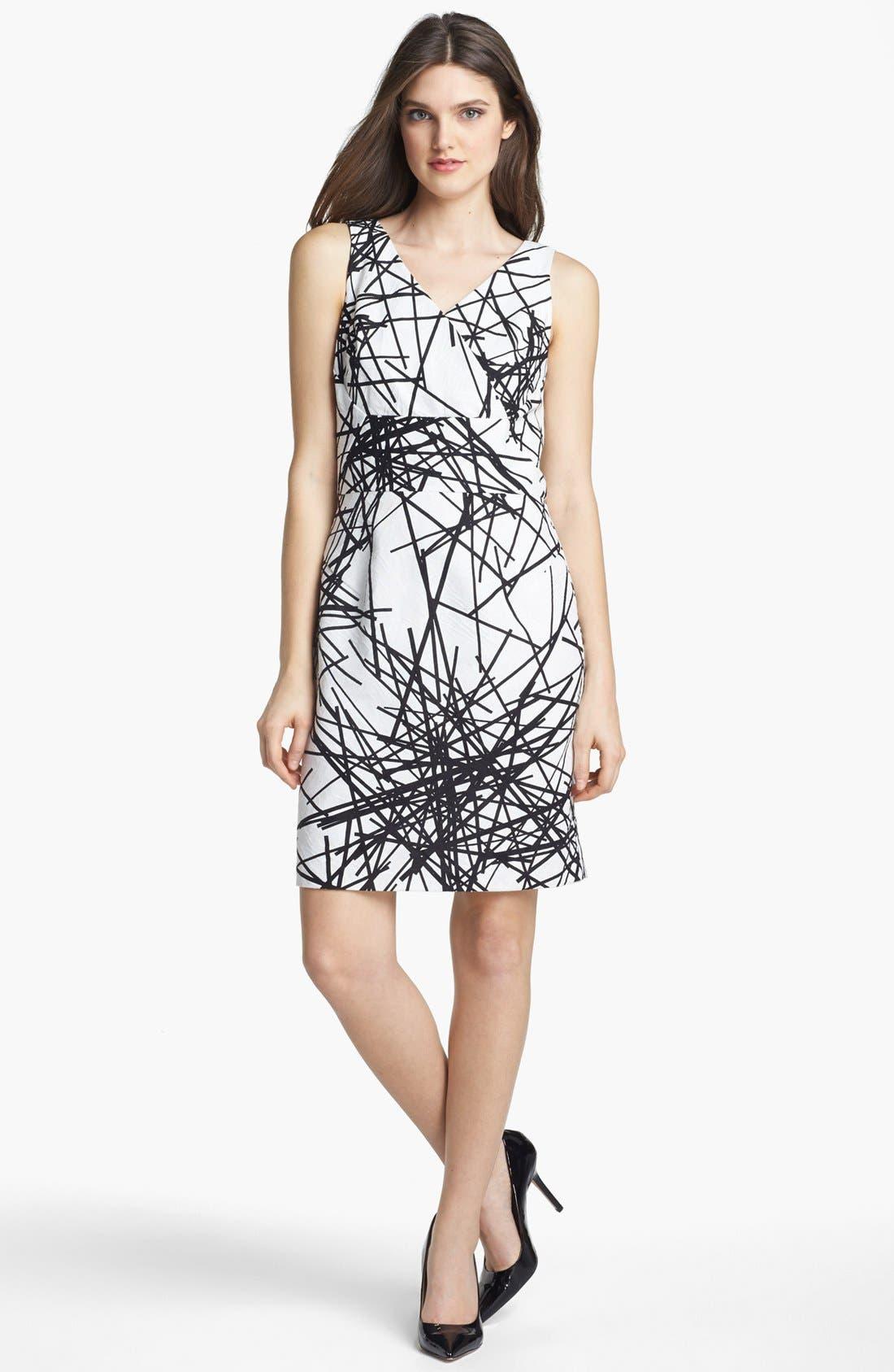 Alternate Image 1 Selected - Donna Ricco Print Jacquard Sheath Dress