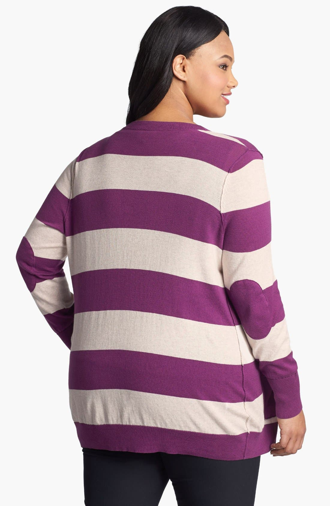 Alternate Image 2  - Halogen® Stripe Cardigan (Plus Size) (Online Only)