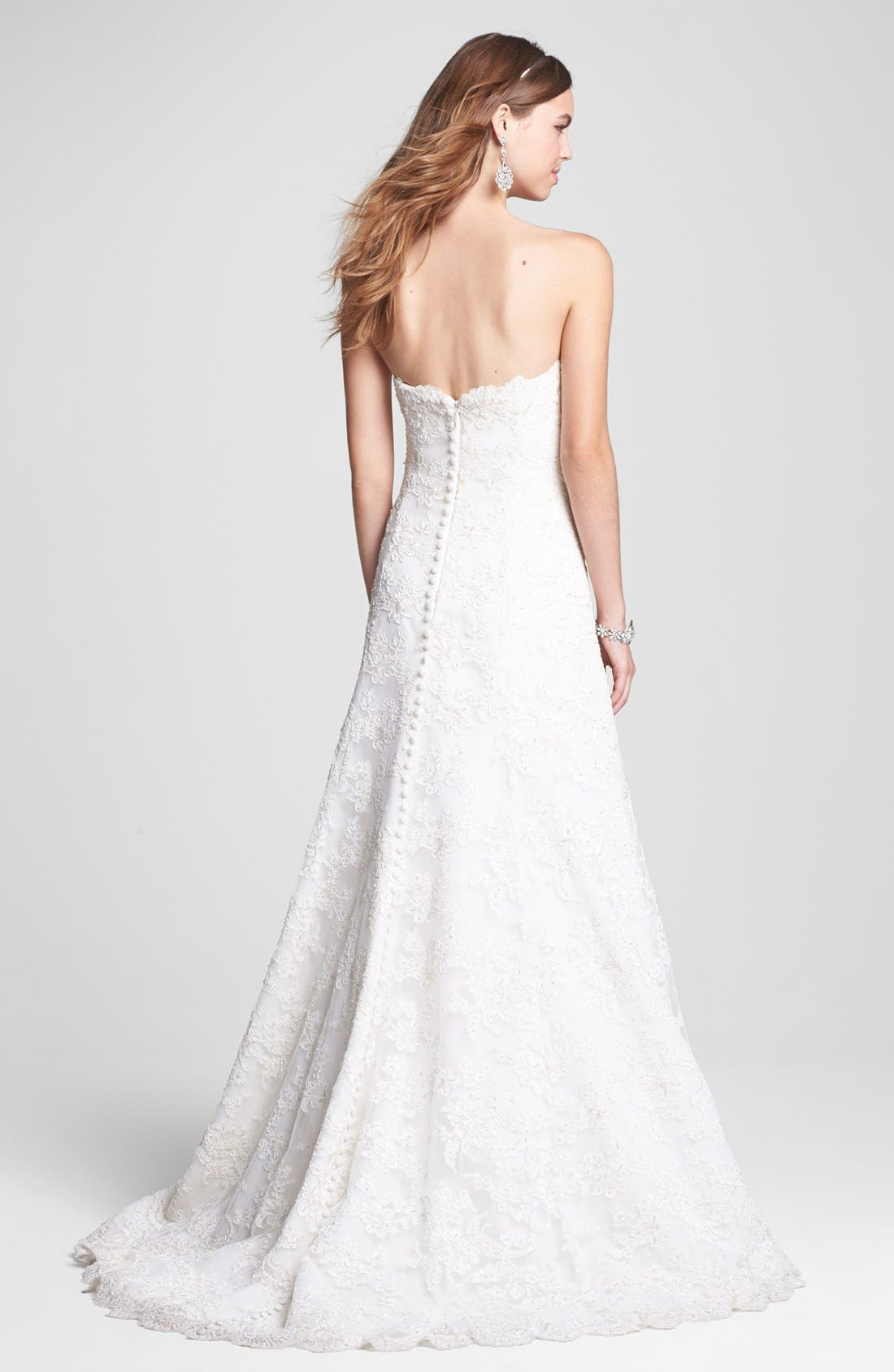 Alternate Image 2  - BLISS Monique Lhuillier Strapless Beaded Lace Wedding Dress (In Stores Only)